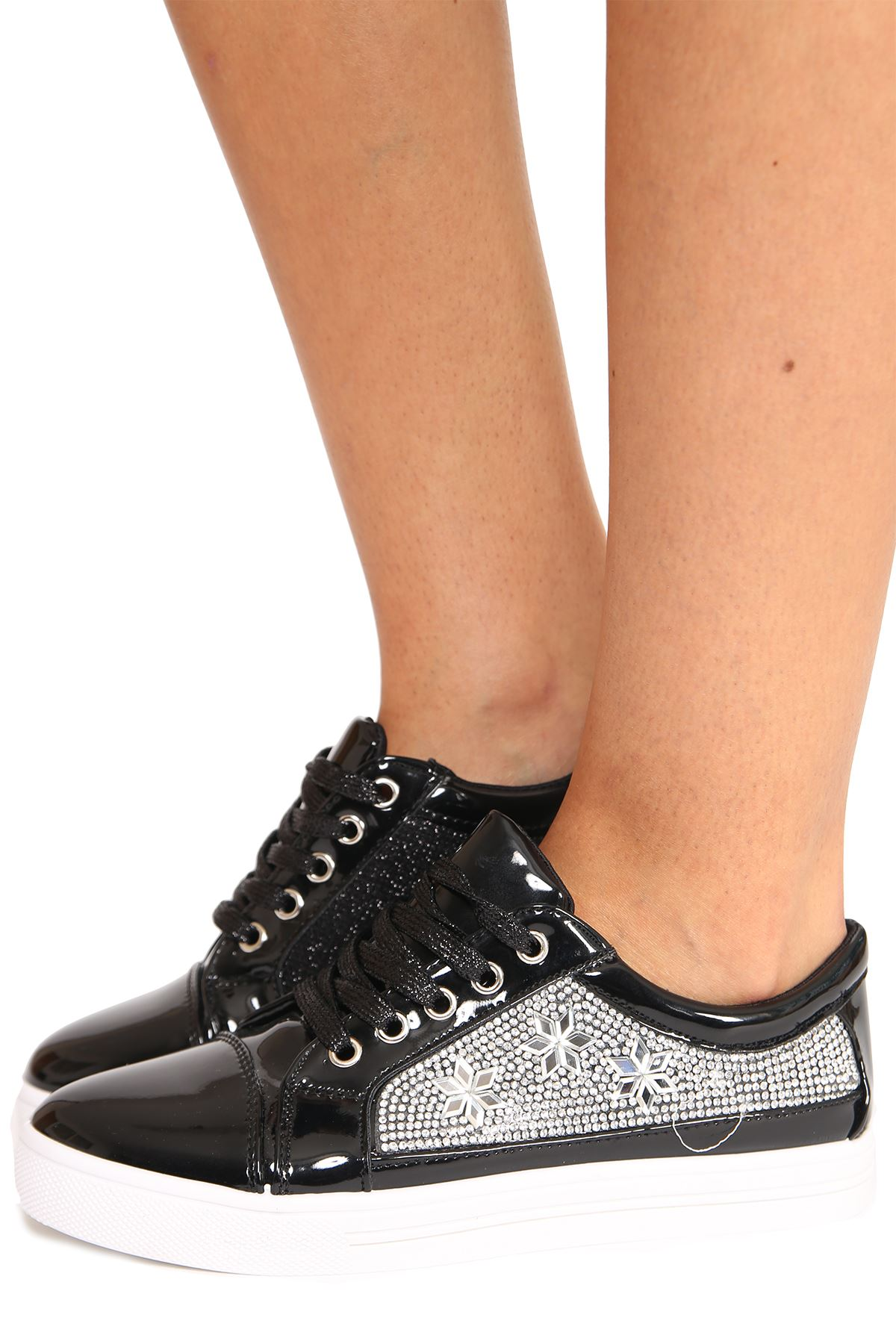 New Womens Metallic Gloss Diamante Star Lace Up Classic Fit Trainers Shoes
