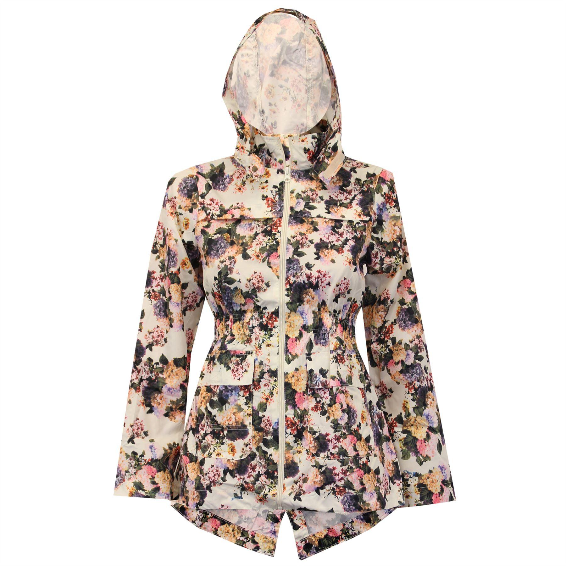 New Womens Girls Hooded Fishtail Showerproof Light Rain Jacket