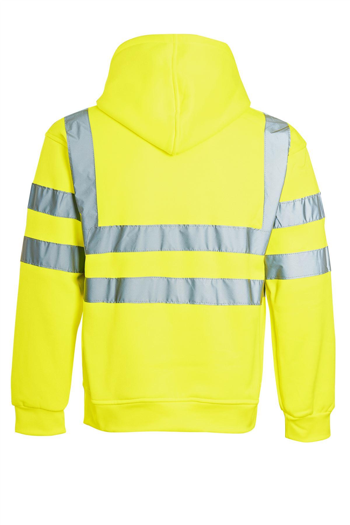 Hommes Fermeture Éclair Polaire Sweat à capuche Hi Viz visibilité Sweat-shirt sécurité travail NEUF