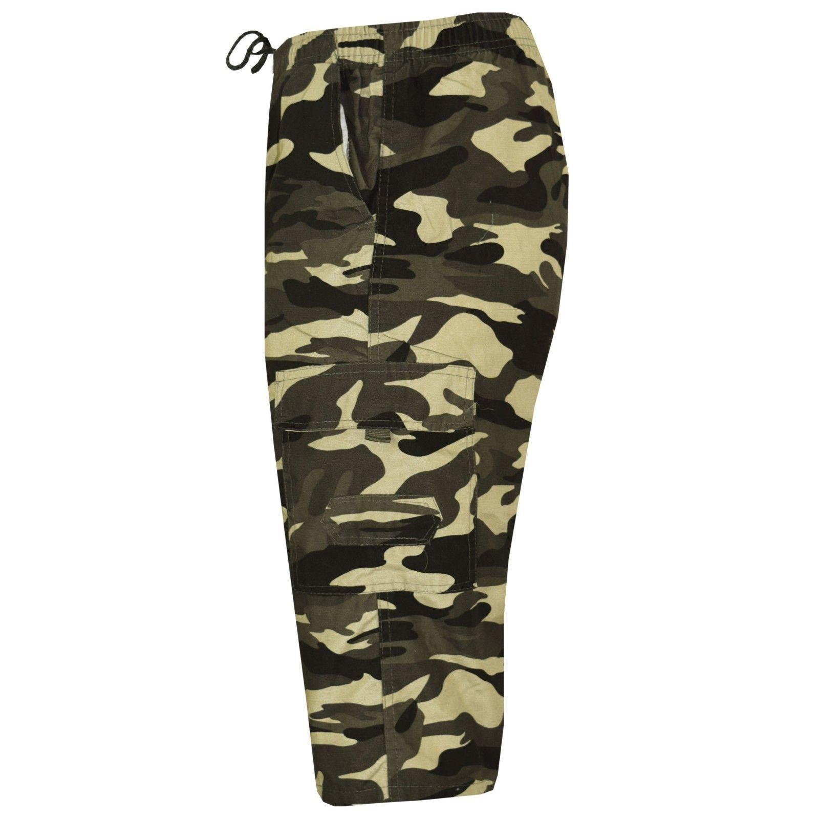 Mens 3//4 Army Elasticated Waist Long Shorts Military Combat Cargo Pockets Camo
