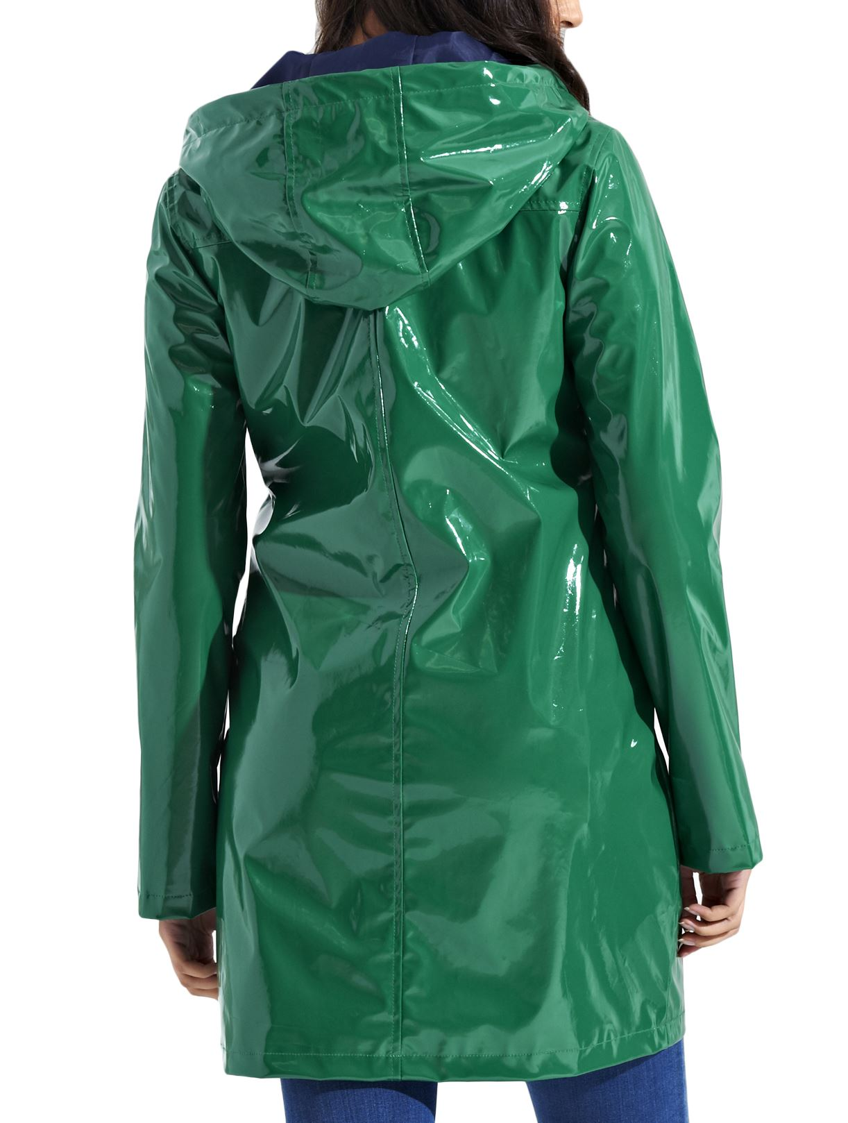 Nueva Moda para Mujer Brillante Brillante Ligero Con Capucha Capa de Lluvia Mac