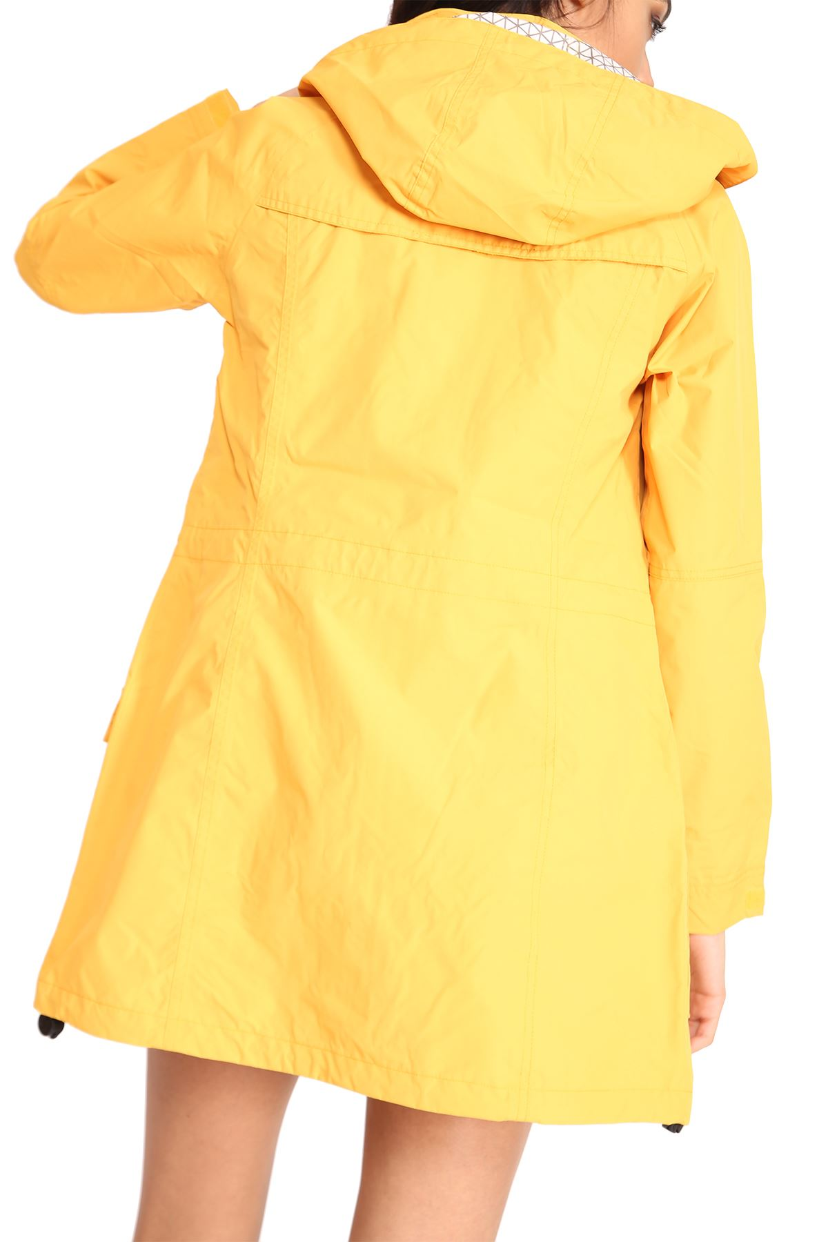 New Womens Hooded Plain Lightweight Rain Waterproof Jacket Rain Mac Coat