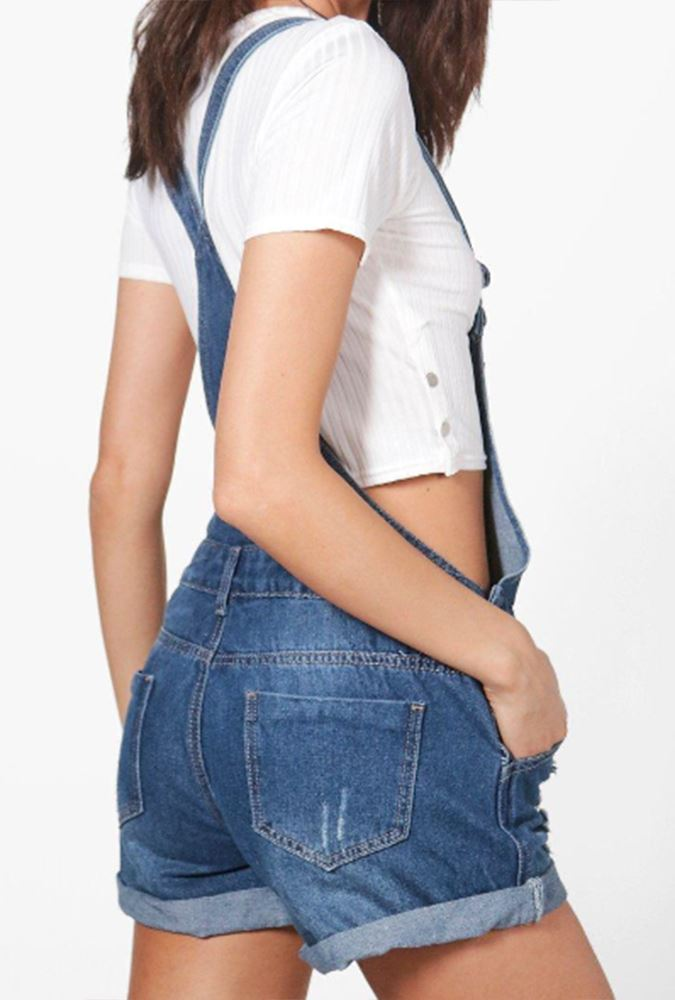 New Womens Ripped Distressed Pouch Pocket Cotton Denim Buttoned Dungaree Shorts