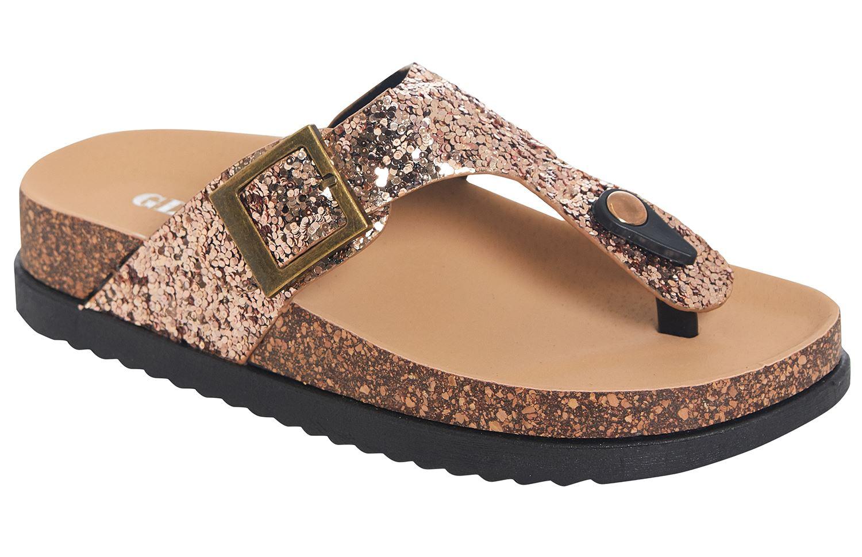 Womens Ladies T Bar Cork Wedge Black Sequin Flip Flops Summer Beach Sandals