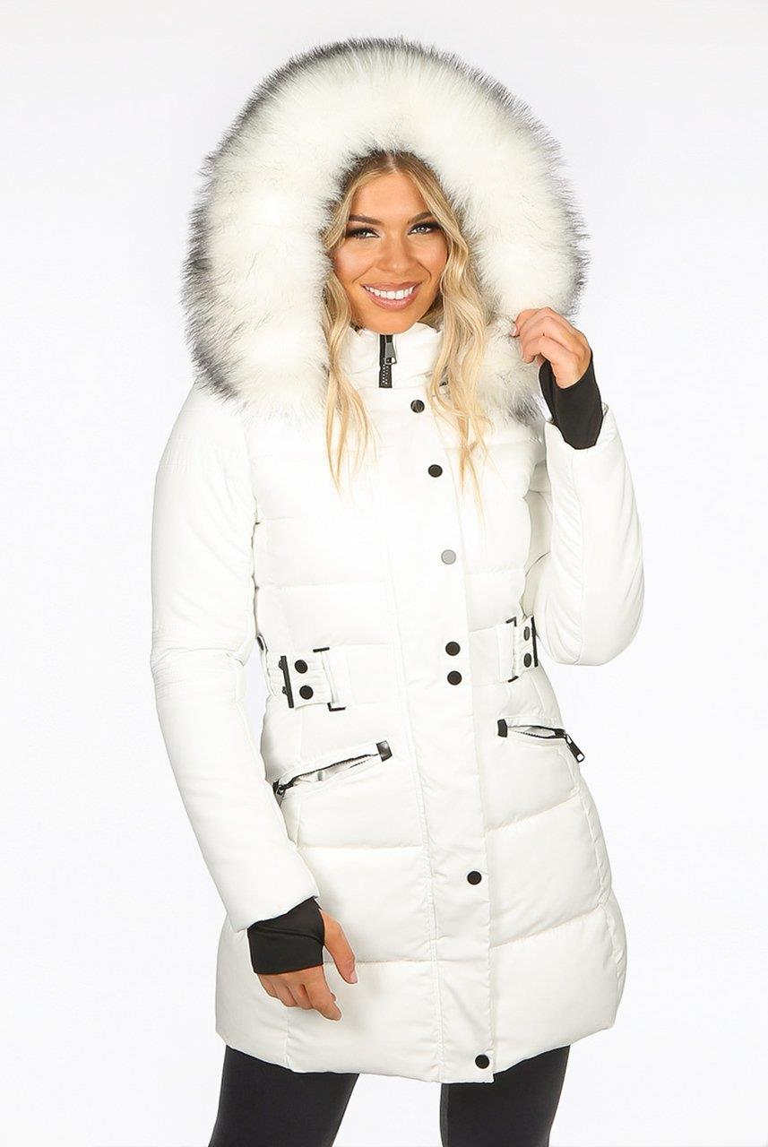 Long Faux Fur Trim Hood Belted Quilted Womens Jacket Puffer Coat Size UK 8-16