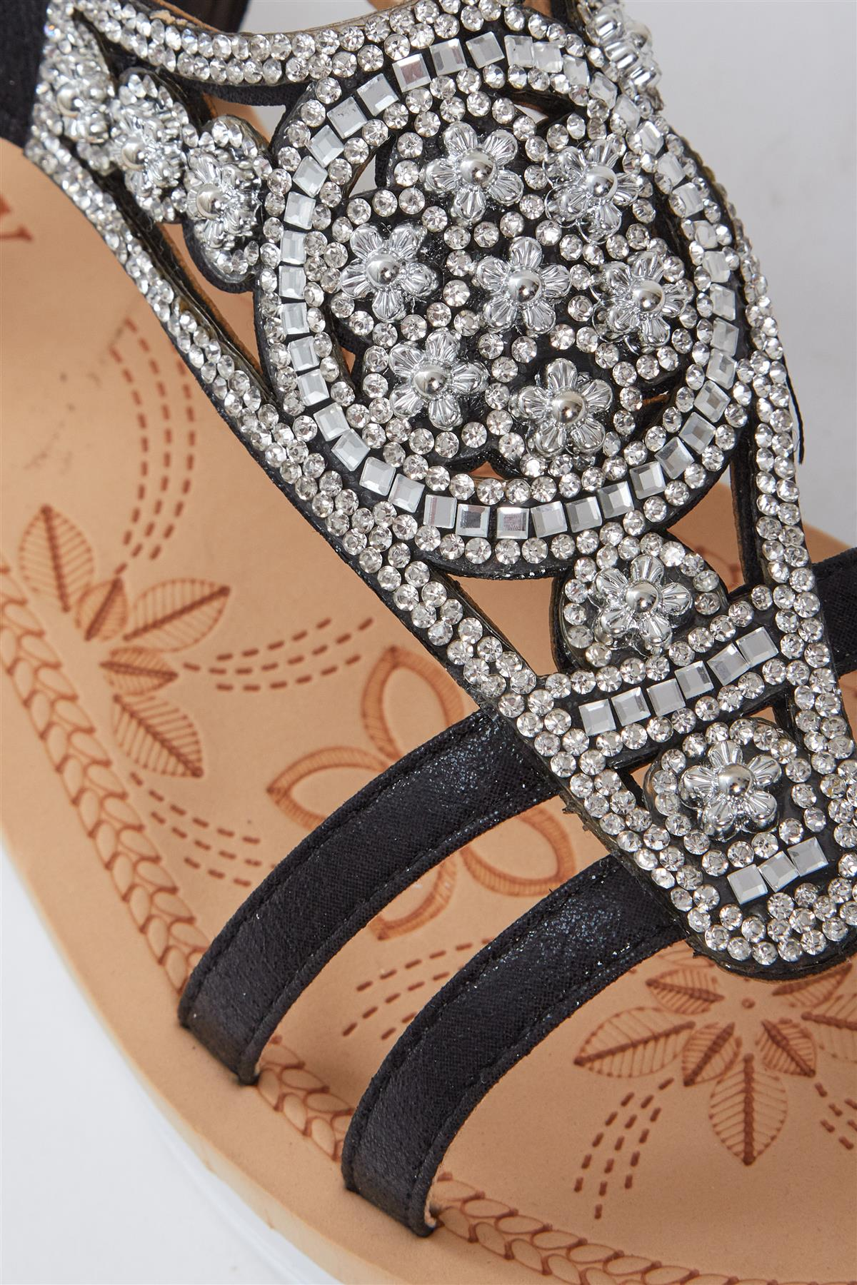Womens Diamante Wedding Summer Toe Glitter Flat Sparkly Open Slipper Sandals