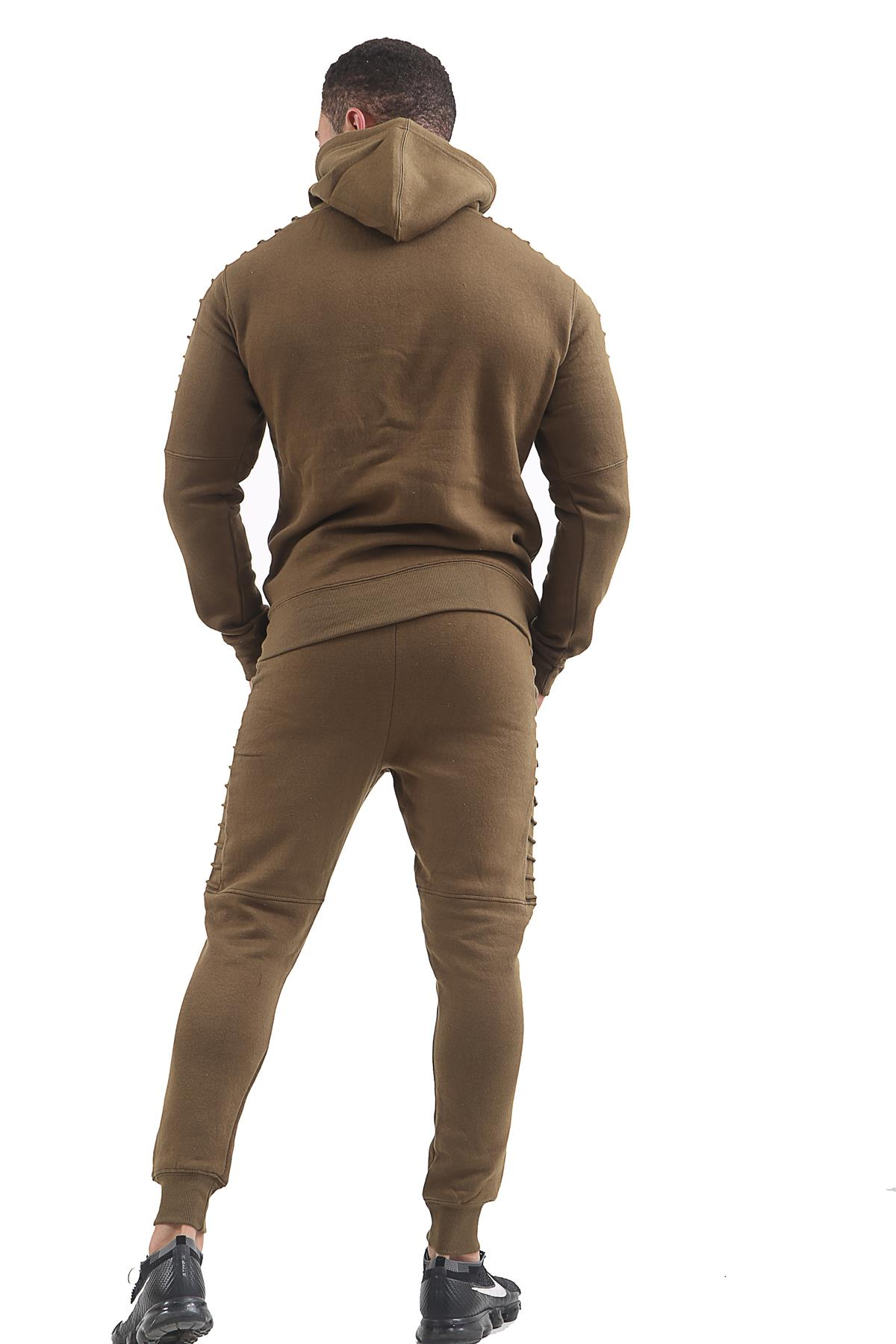 Mens Slim Fit Gather Detail Gym Jogging Casual Bottoms Zip Up Hoodie Tracksuit