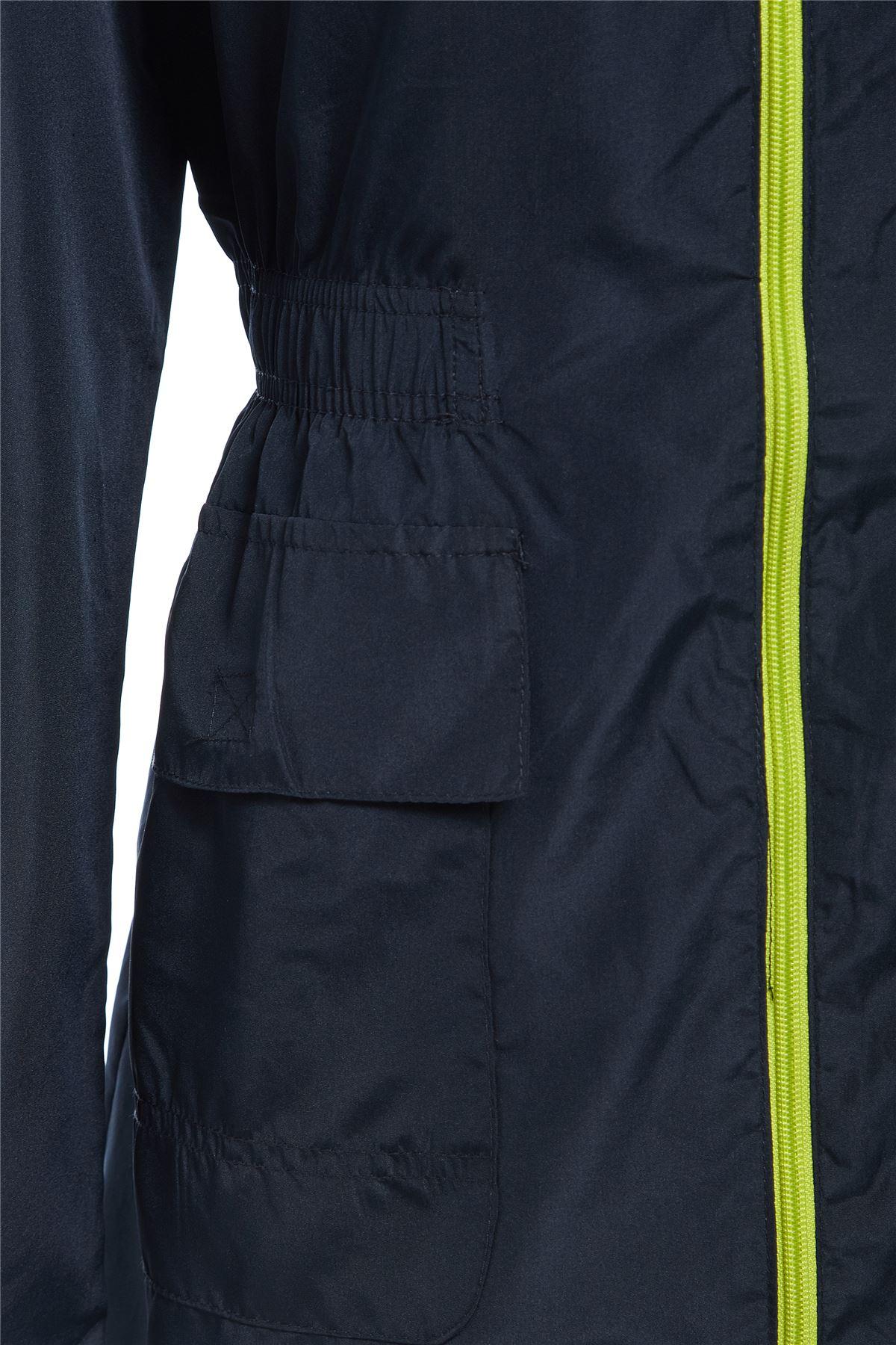 Womens Det Hood Neon Contrast Zip Lightweight Jacket Top Raincoat Kagool 8-16