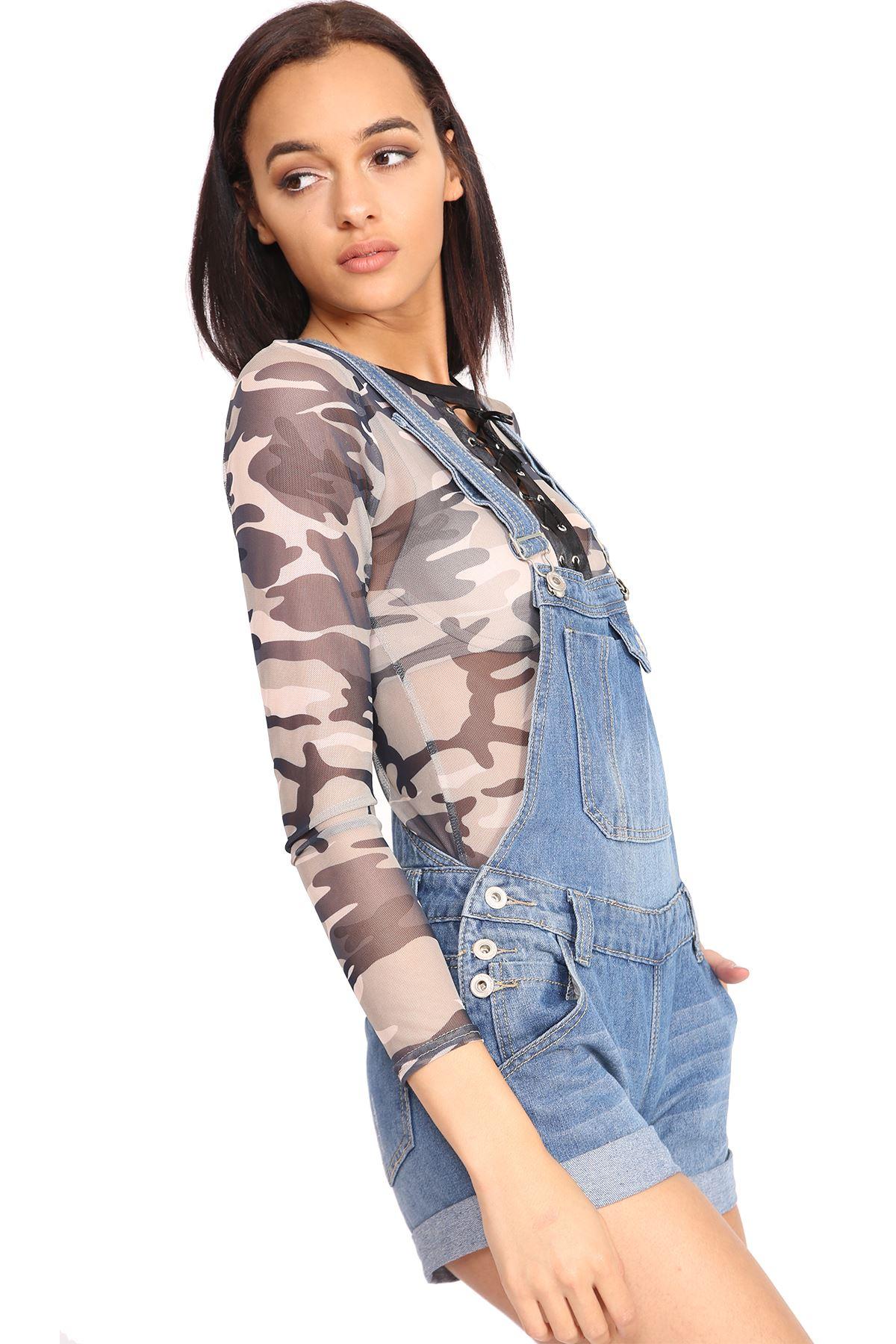 NUOVA linea donna strappato tasca a marsupio con effetto invecchiato cotone Denim con Bottoni Salopette Pantaloncini