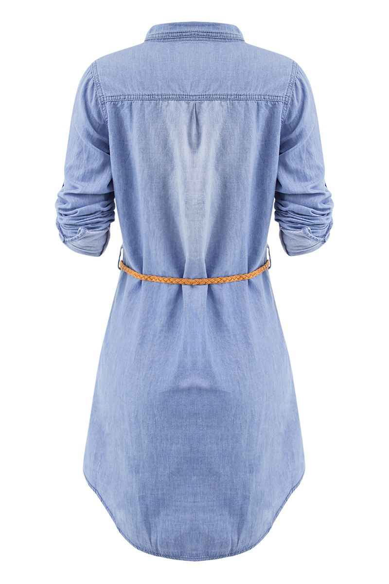 New Womens Casual Cotton Diamante Adorned Beautiful Long Shirt Dress