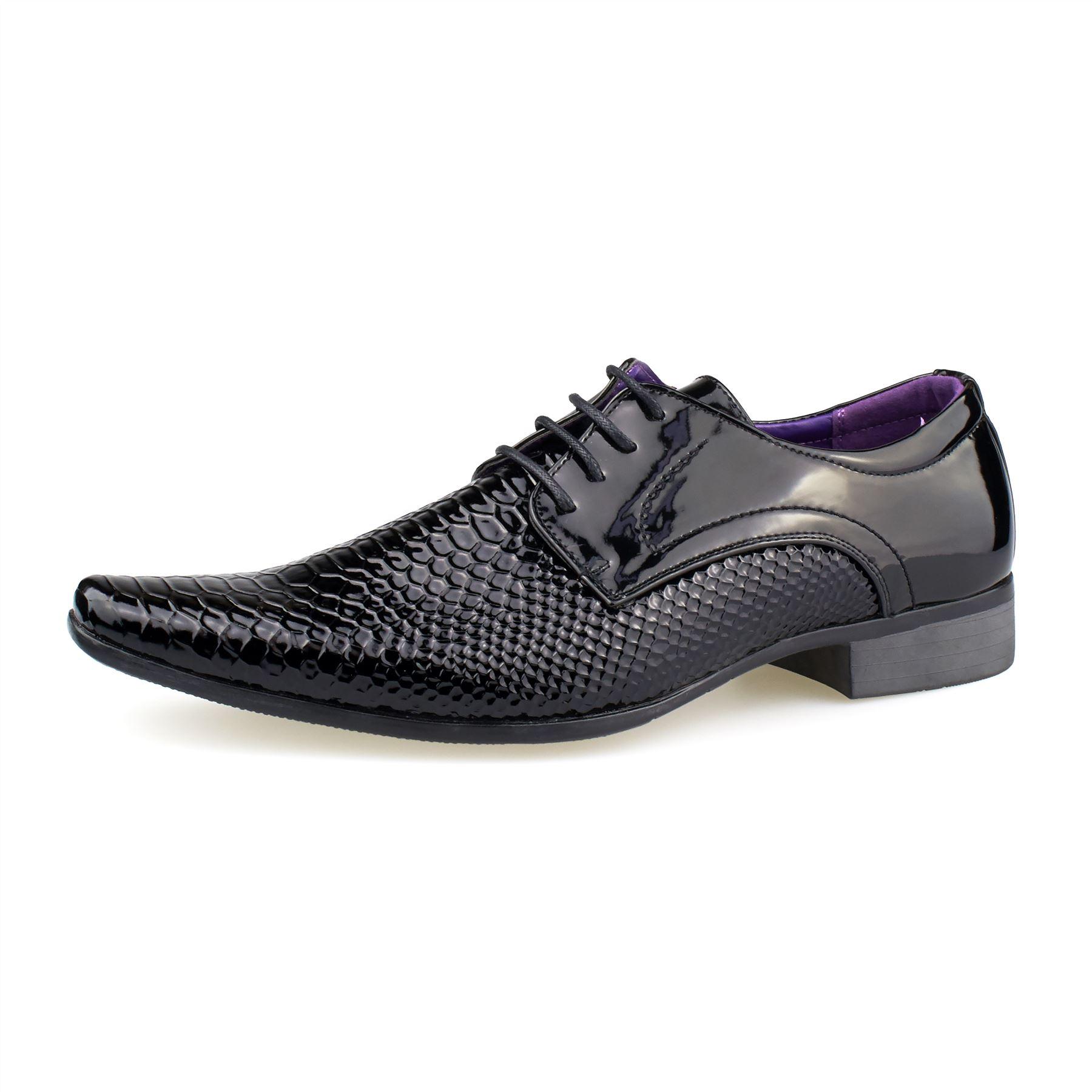 Mens Leather Snake Skin Pattern Shoes Patent Shiny Lace Up Italian Style UK 6-11
