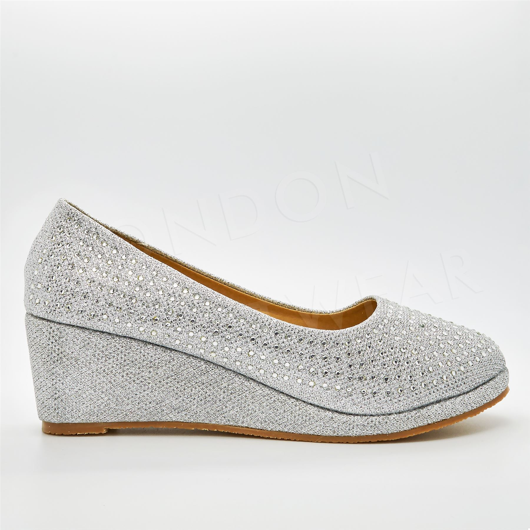 New Girls Diamante Low Wedge Heel Court Shoes Party Evening Wedding Slip On Size
