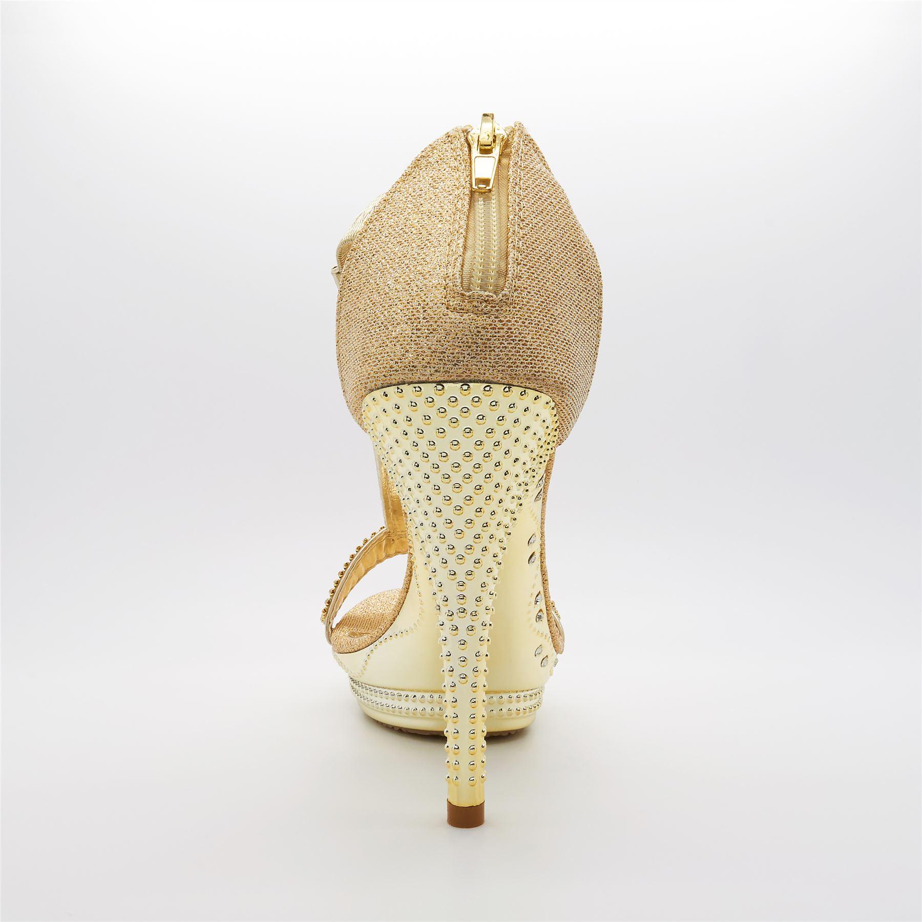 Womens New Ladies Diamante High Heel Platform Bridal Party Toe Shoes UK Size 3-8