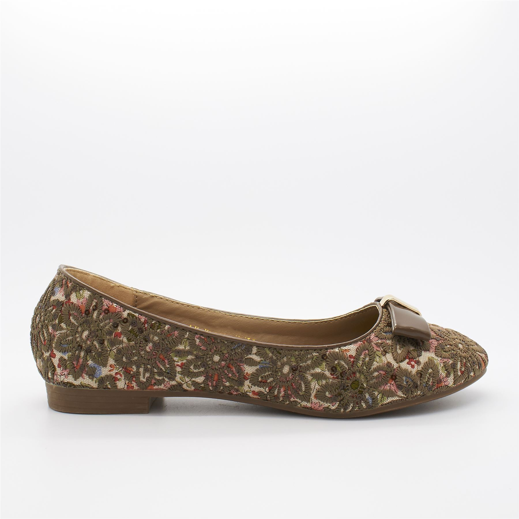 New Womens Ladies Ballerina Dolly Flower Flat Patent Bow Ballet Pumps Shoes Size
