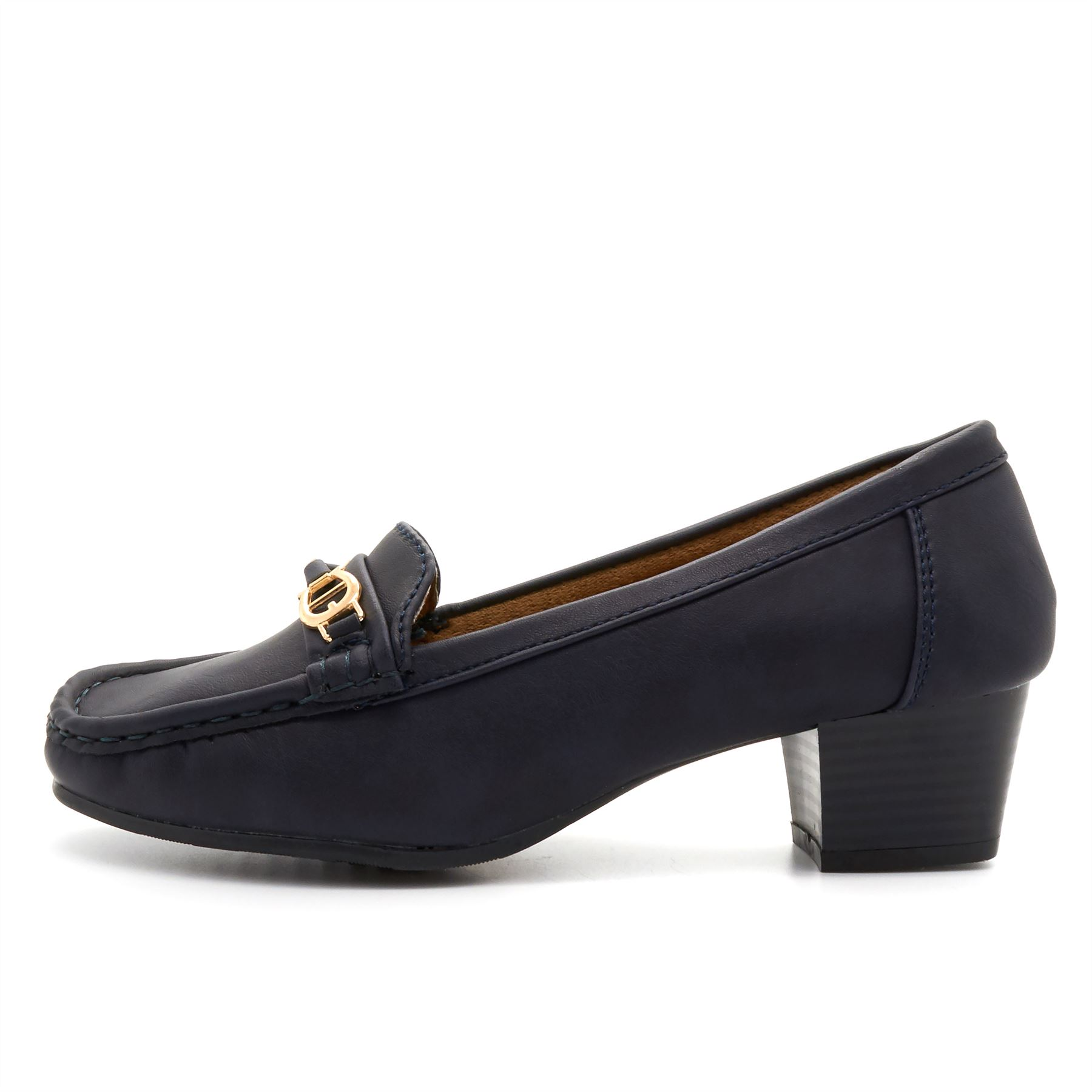 New Womens Low Heel Slip On Shoes Ladies Comfort Work Casual Loafers Leather 3-8