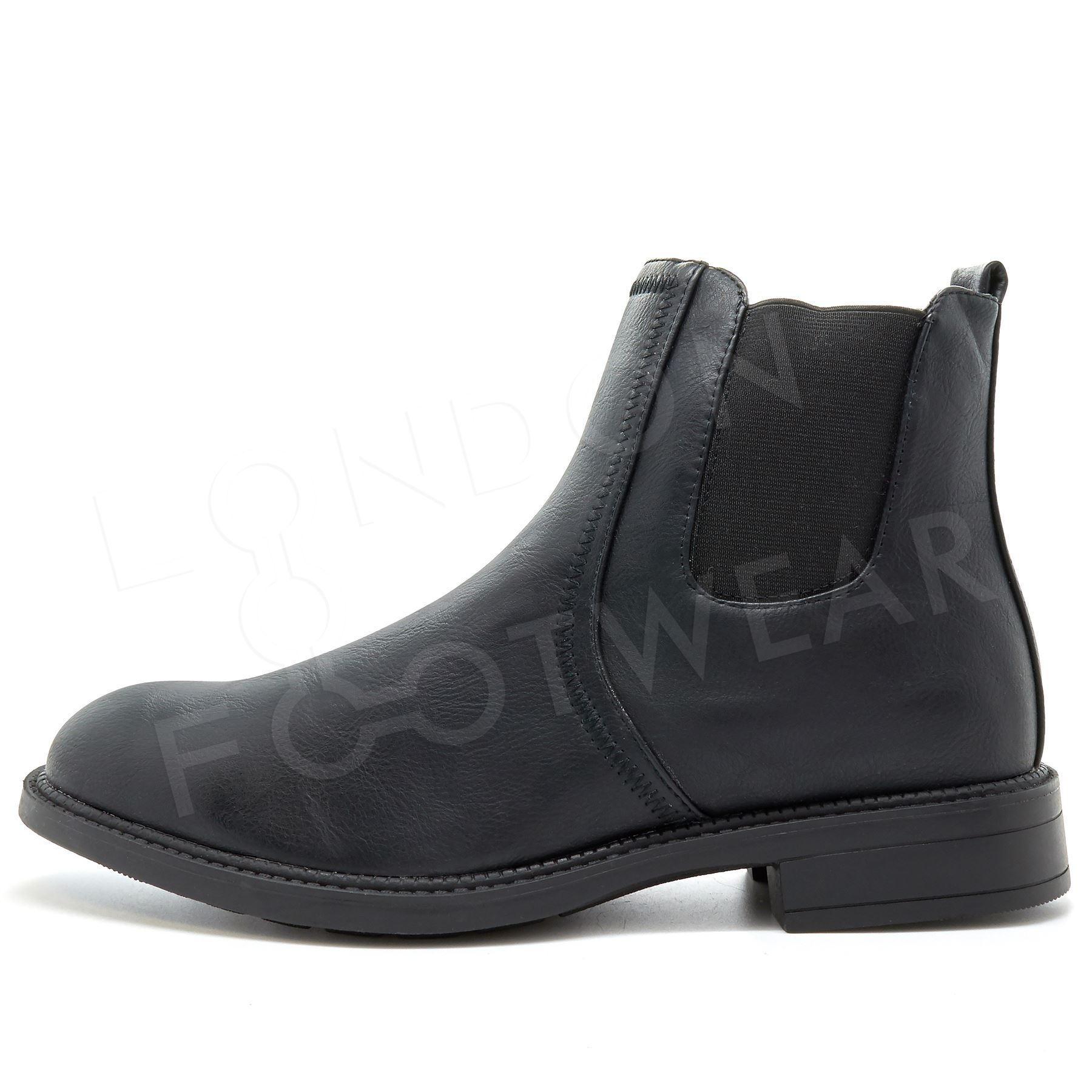 New Mens Chelsea Boots Dealer Ankle Shoes Smart Work Slip On Faux Leather Size