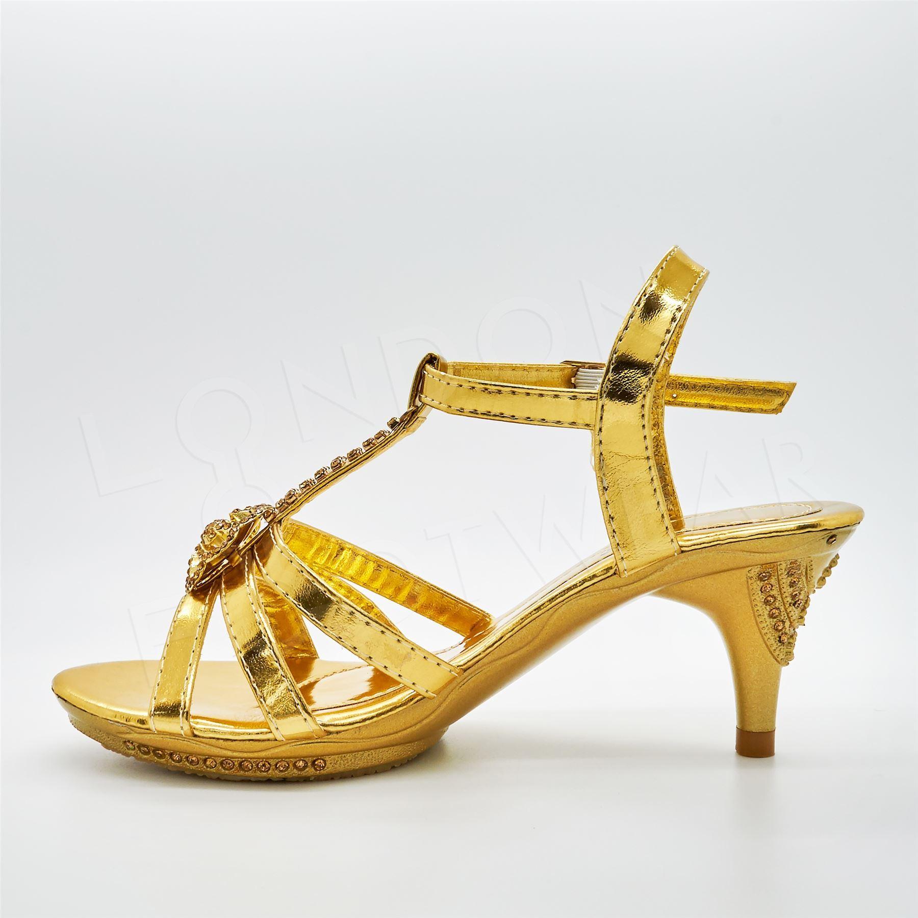 Girls Diamante Bridal Sandals Low Kitten Heel Shoes Party Bridesmaid Wedding UK
