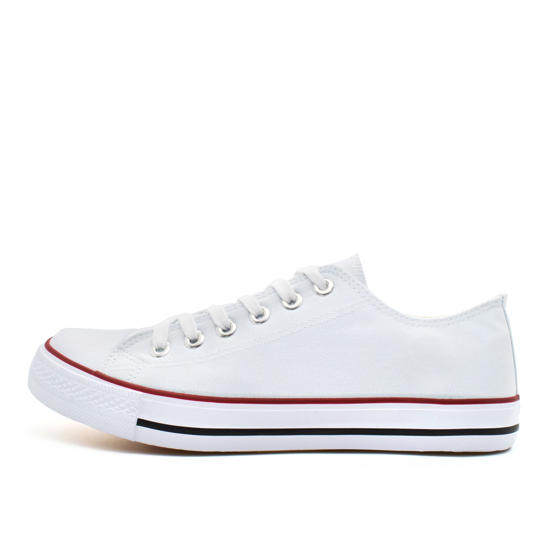 New Mens Flat Canvas Plimsolls Trainers Casual Lace Up Shoes Pumps Size 6-11 UK