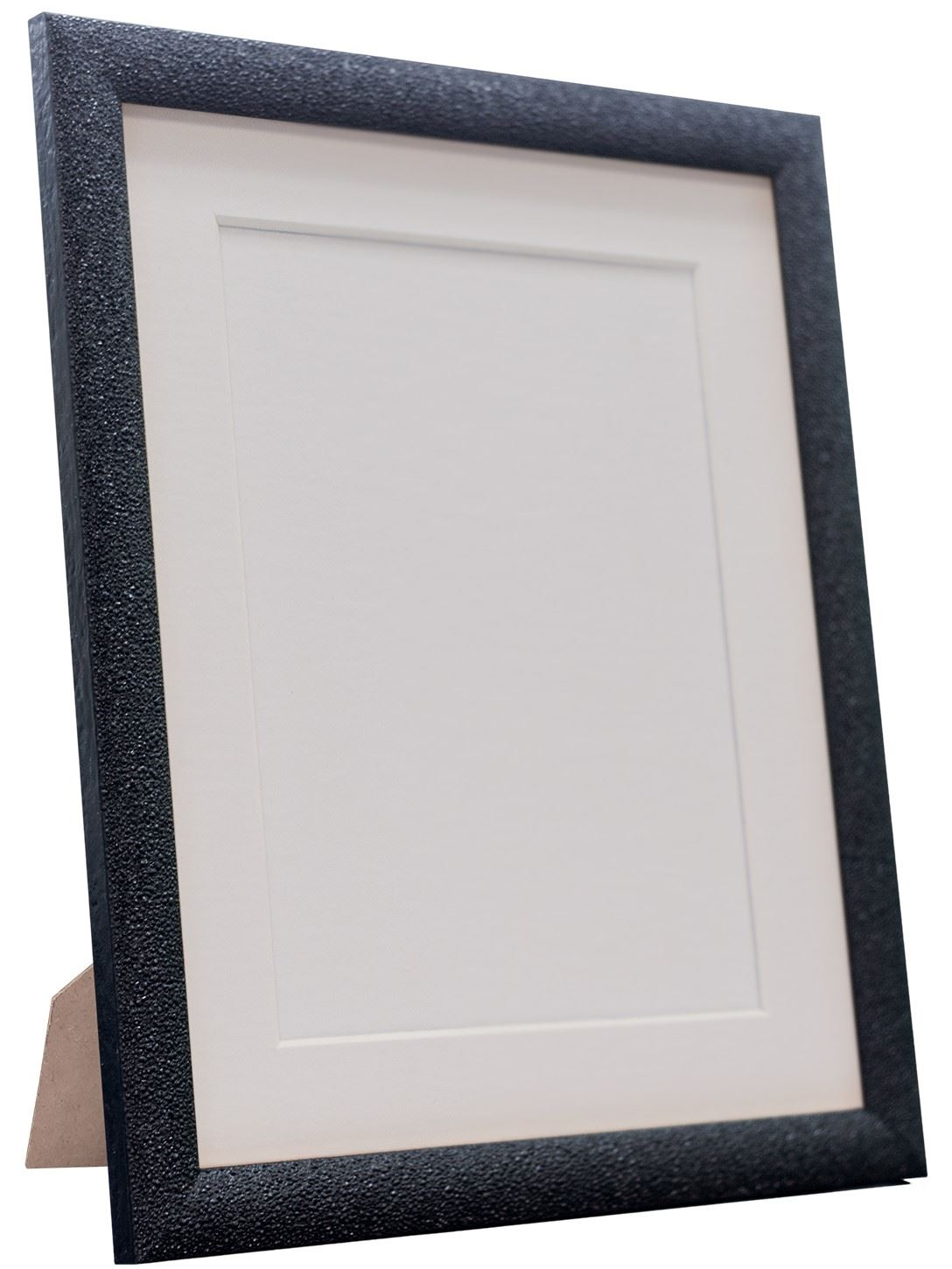 Ivory and Other Mounts Black Glitz Black Picture Photo Frame with White