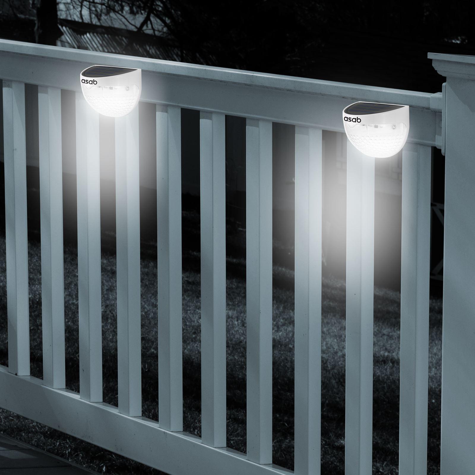 Solar Powered Fence Light LED Dual Path Gutter Lamp Wall Lighting Garden Outdoor