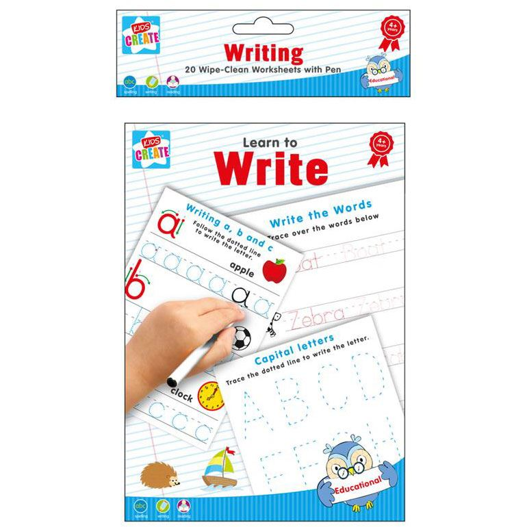 A5 Wipe Clean Worksheets with Eraser Pen School Teach Learn Write Spell Maths