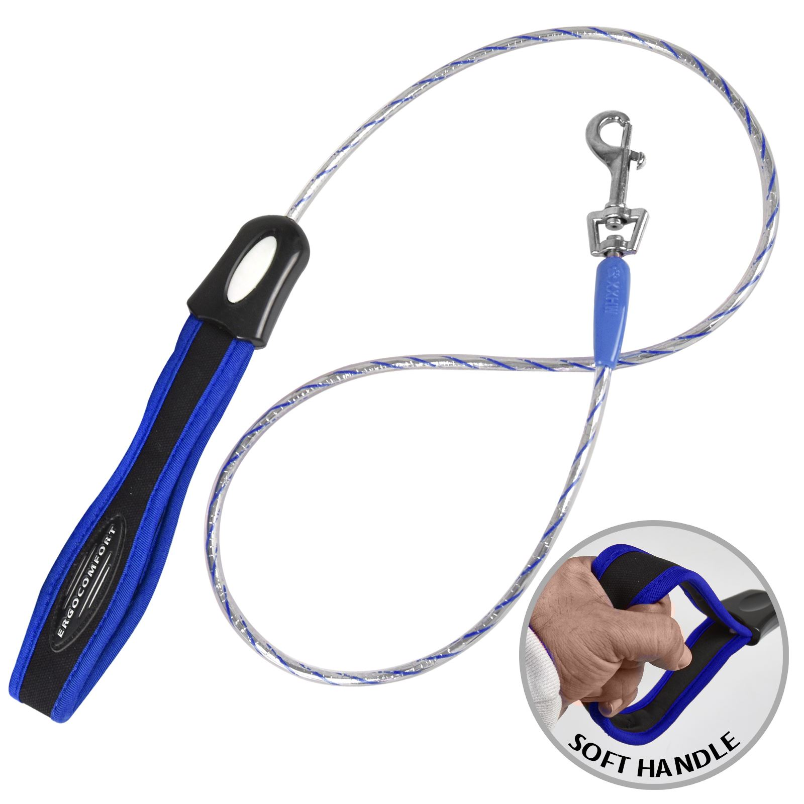 Long Flexi Small Dog Leash Lead Walking Rope Soft Padded Handle Metal Clip Clasp