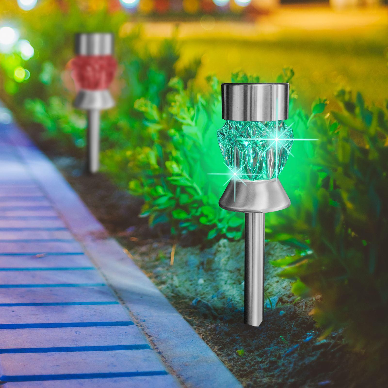 4x solaire alimenté Post lumières DEL Crystal en acier inoxydable éclairage extérieur jardin