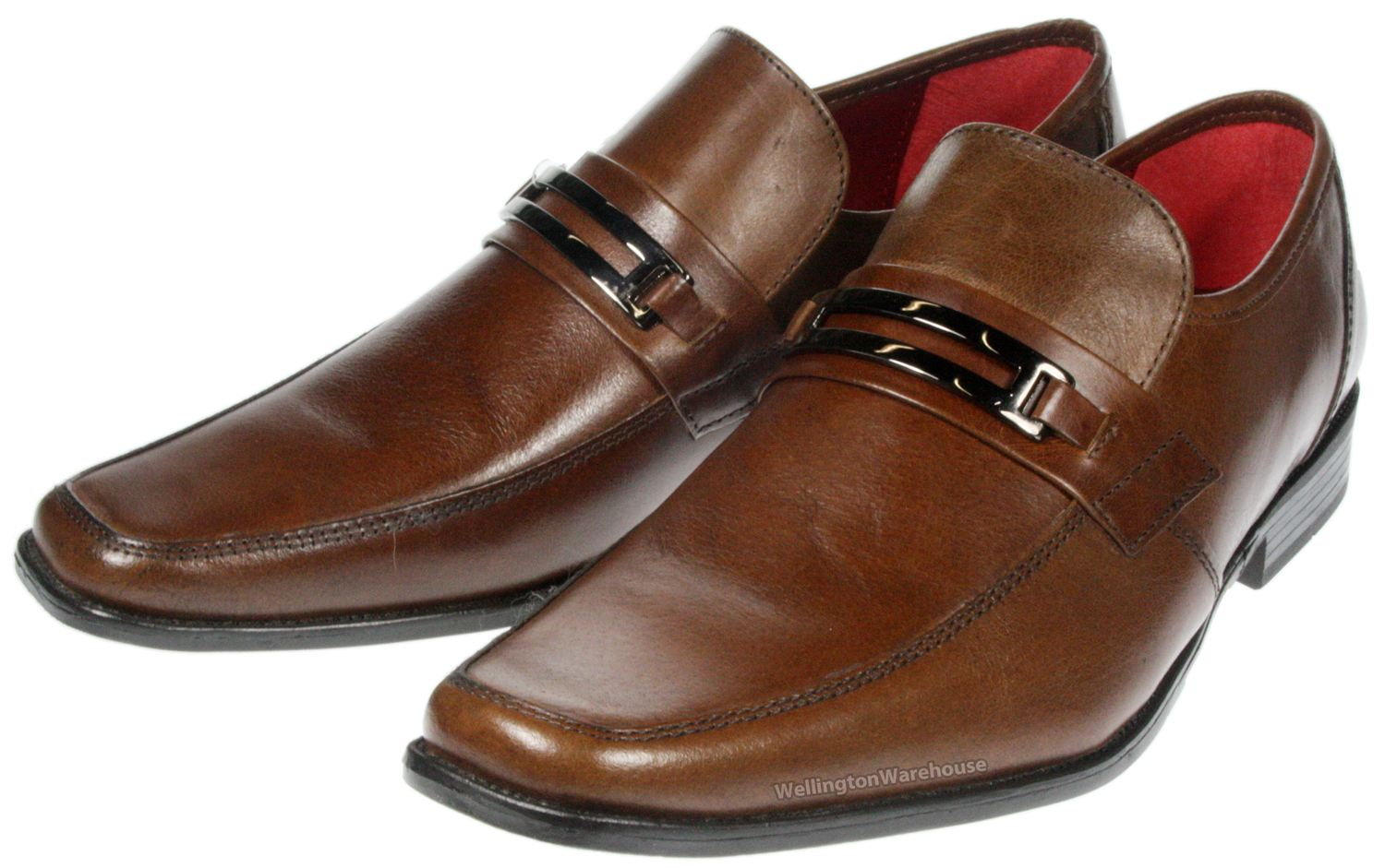 Red Tape Tan brown leather slip on mens shoes