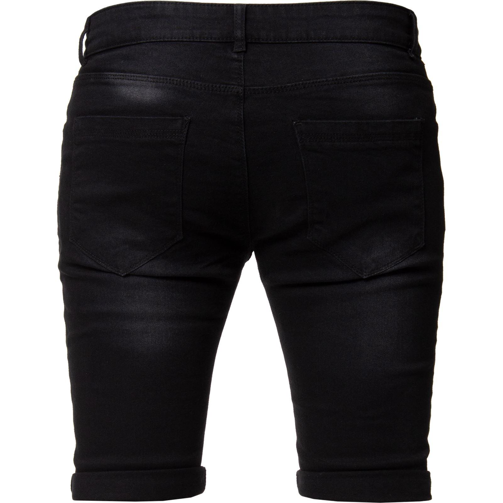 Kruze Mens Skinny Slim Fit Stretch Ripped Shorts Summer Denim Half Jean Pants