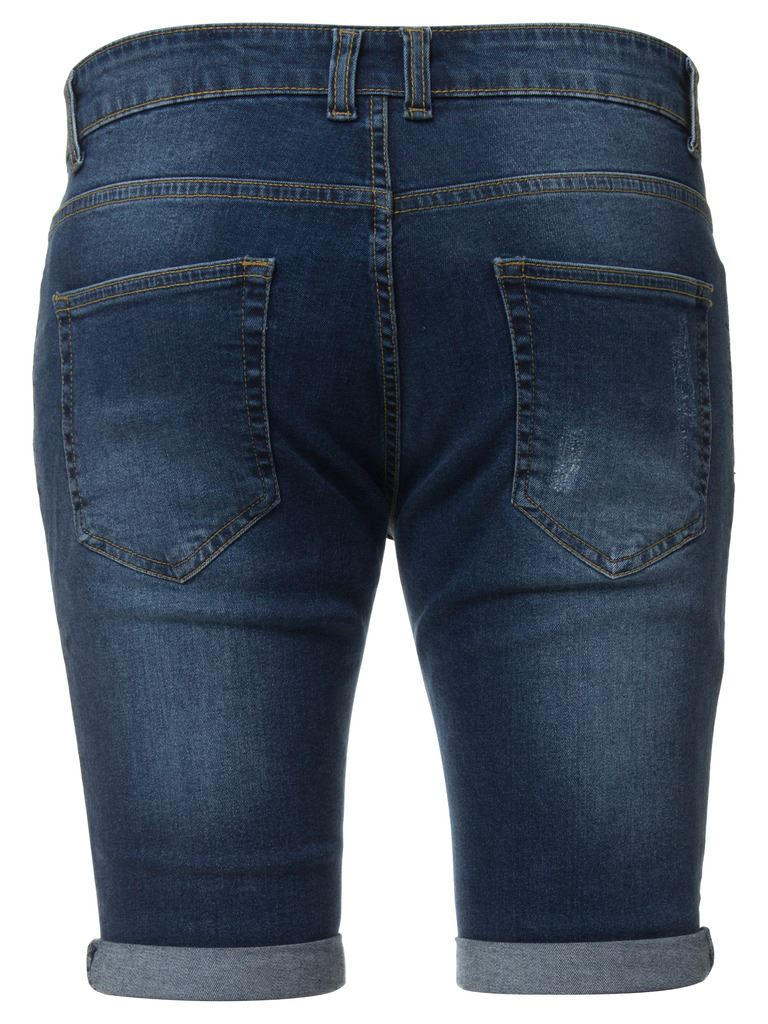 Enzo Jeans Mens Denim Shorts Skinny Fit Distressed Ripped Half Pants Waist Sizes