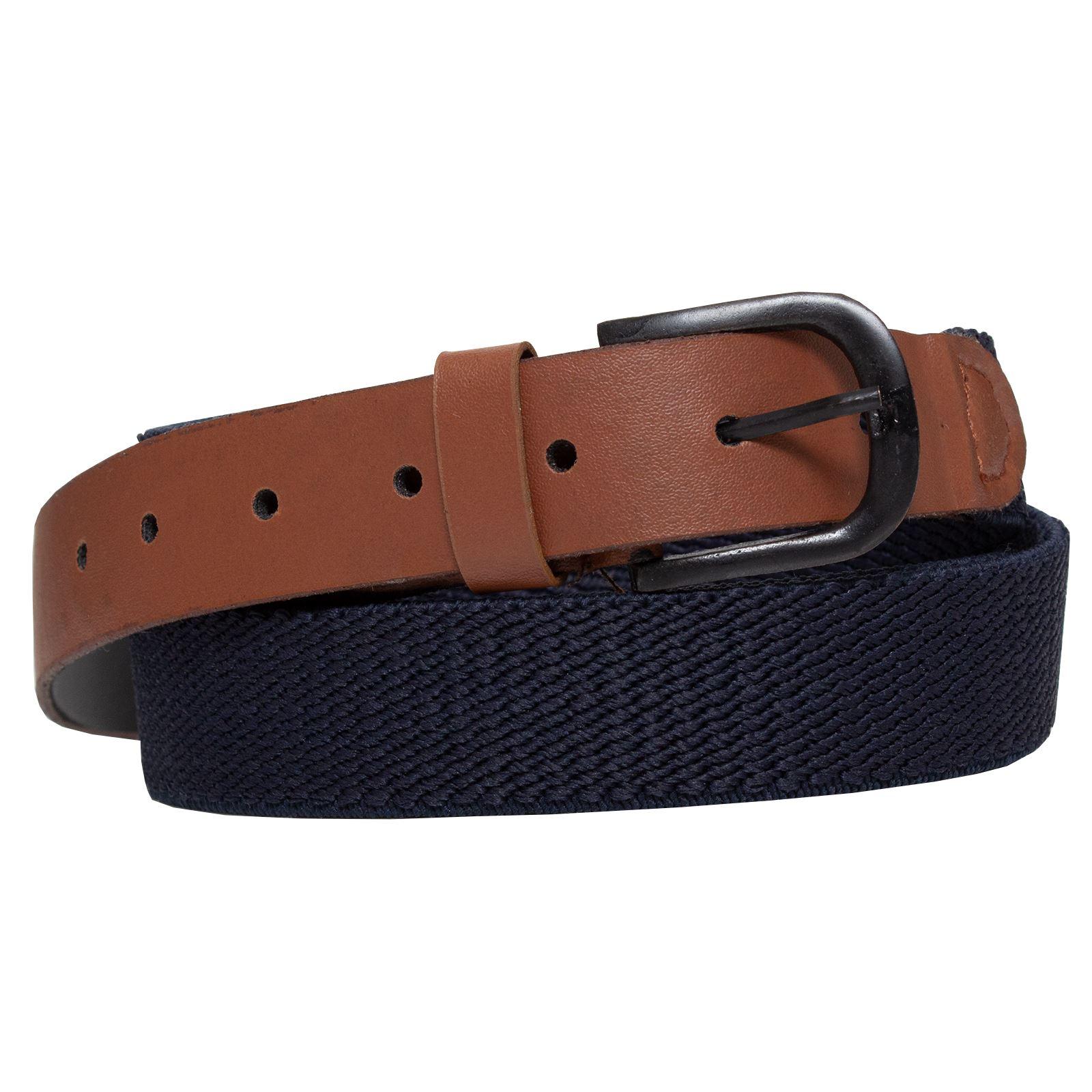 Mens Ladies Elasticated Webbing Belts PU Leather Trim Stretch Canvas Buckle Belt