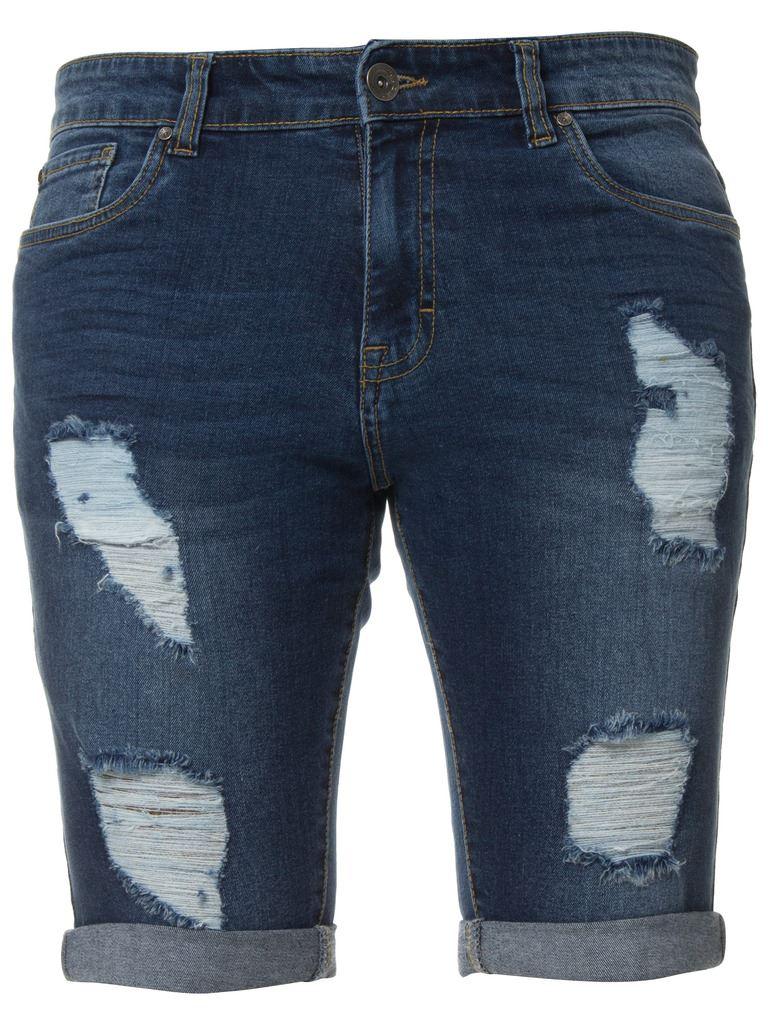 Enzo Jeans Mens Denim Skinny Fit Shorts Distressed Ripped Half Pants Waist Sizes