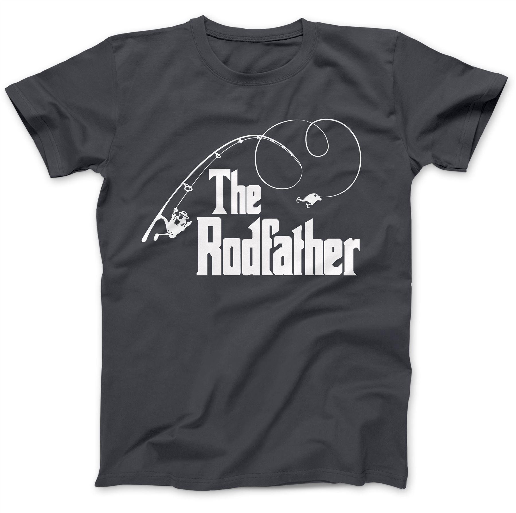 The Rodfather Fishing Parody Gift Funny T-Shirt 100/% Premium Cotton Fisherman