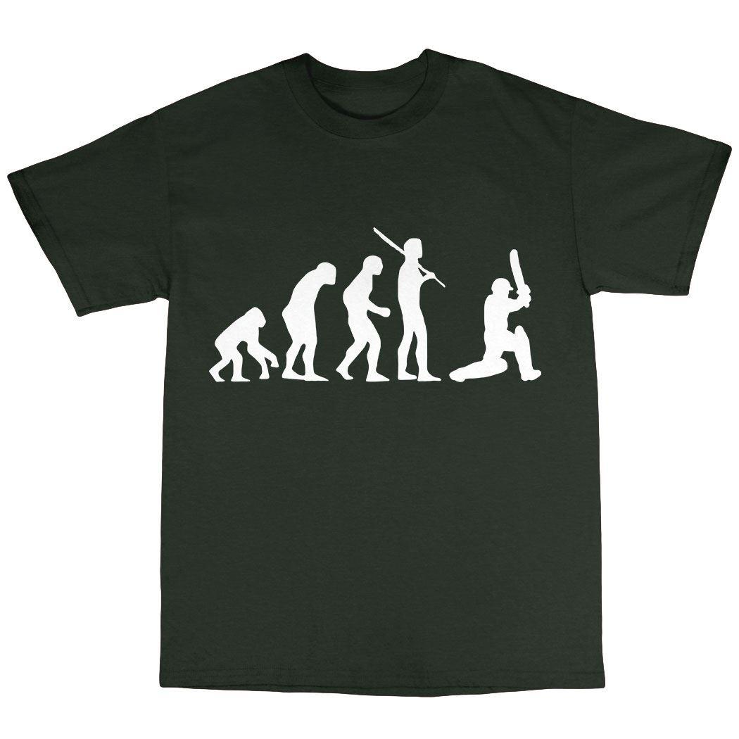 Cricket Cricketer Evolution T-Shirt Premium Cotton Bowler Batsman Gift Present