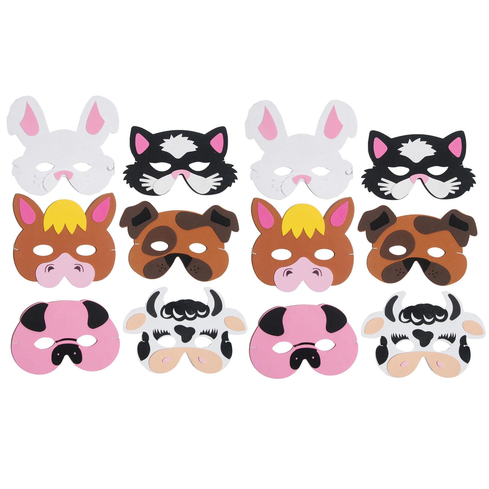 Playwrite Party Masks Pack of 12 Farm Animal