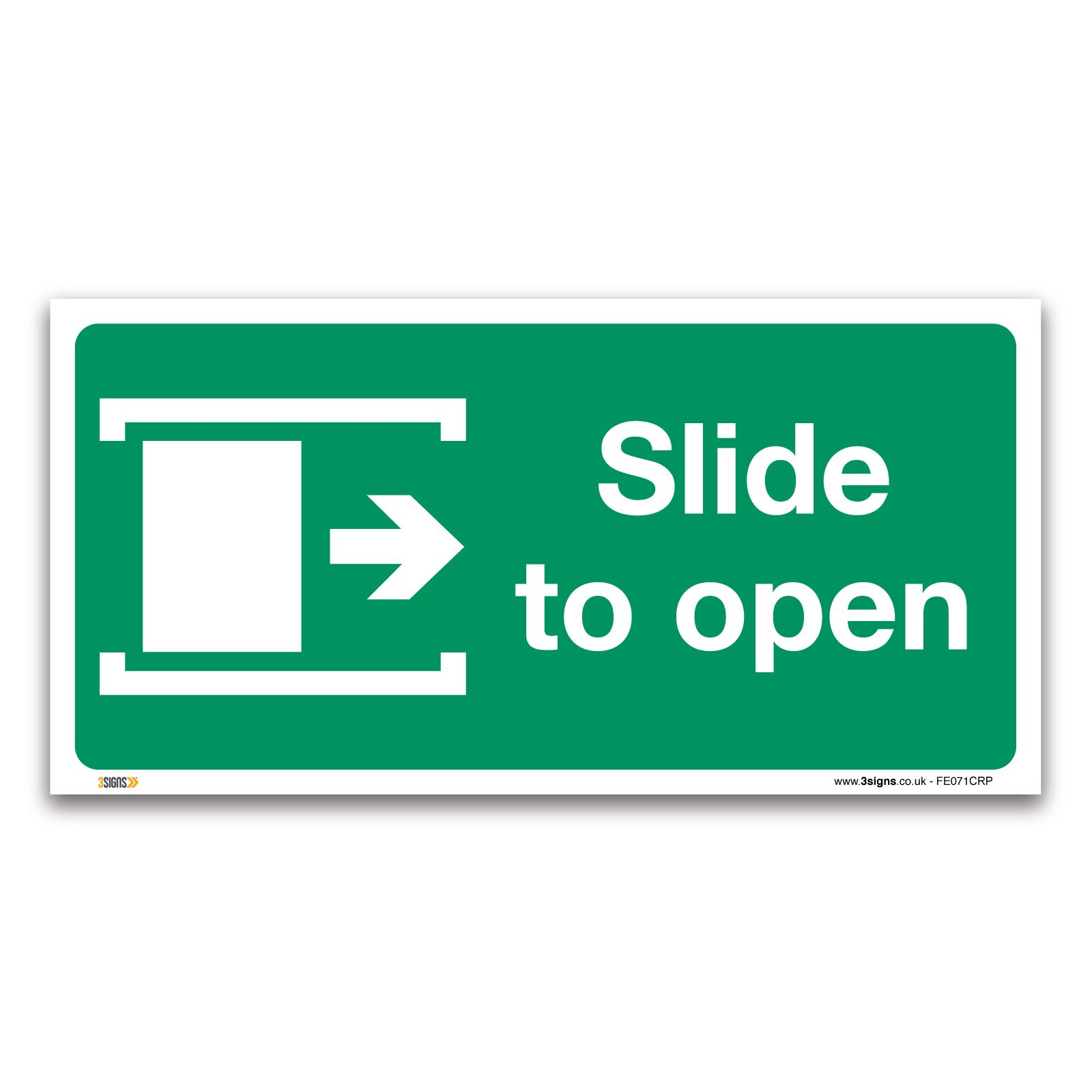 Slide to open right Fire exit Sign Plastic or Vinyl Sticker Safety Door Signs