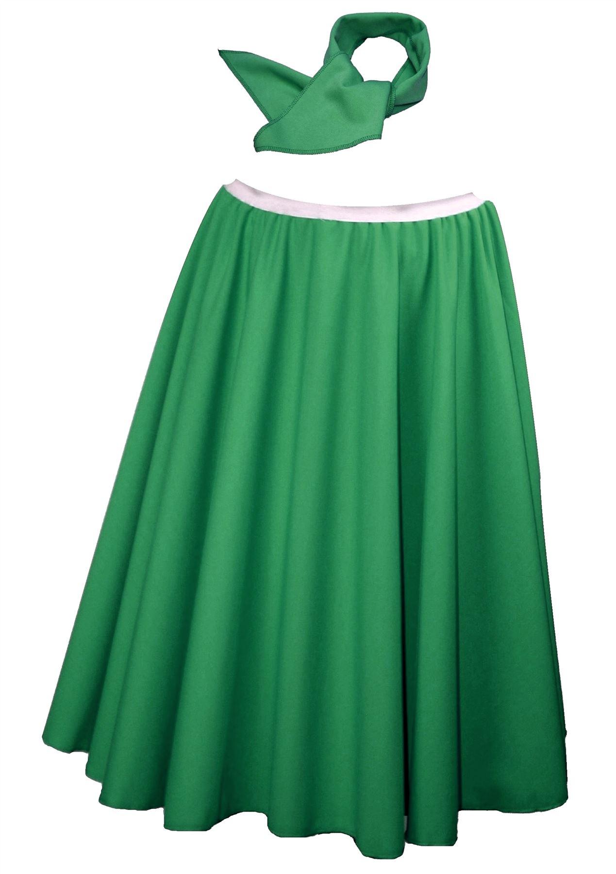 "Neck Tie With Elasticated Waist band 26/"" Emerald Green Rock /& Roll Skirt"