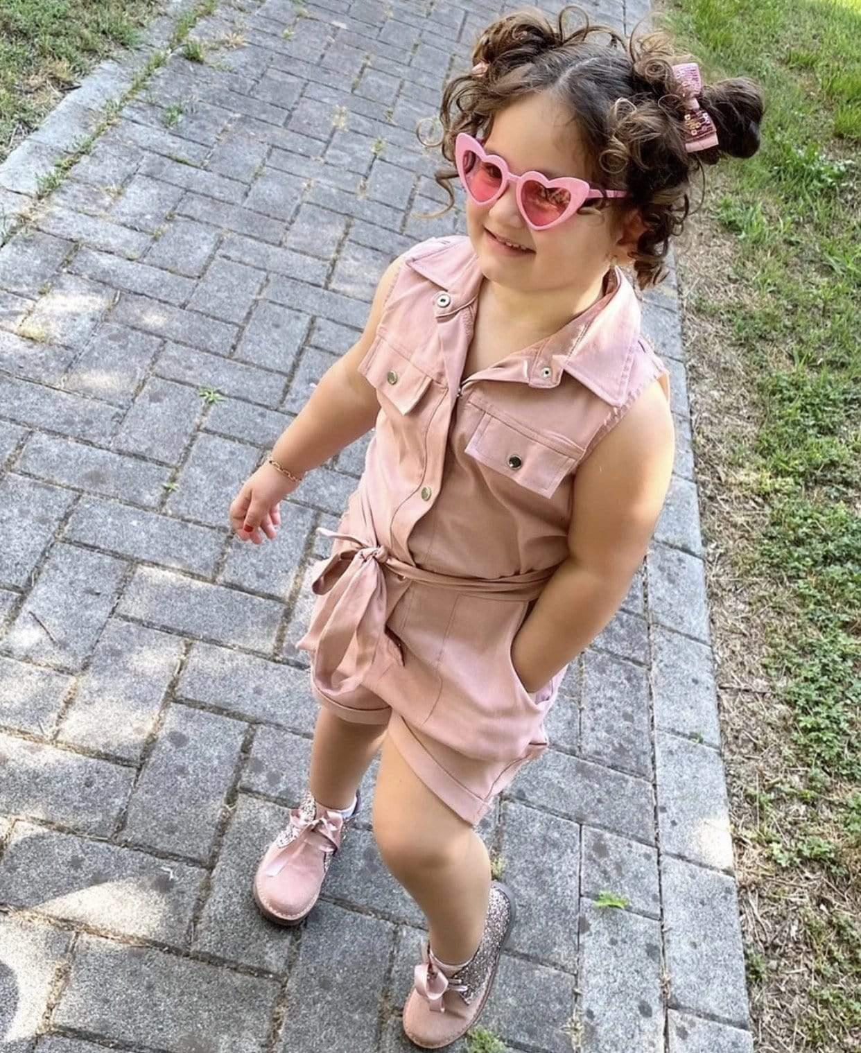 Enfants Filles sans manches short combi-short denim Chemise Été Tout en Un Combinaison
