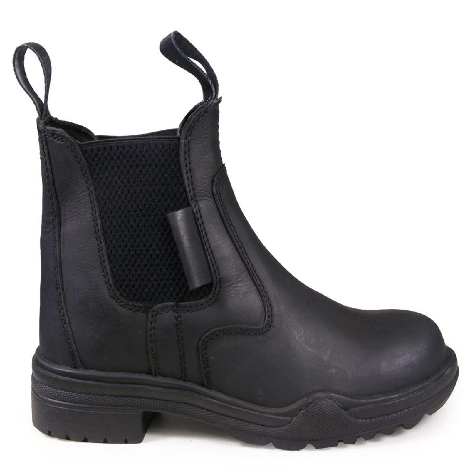 Adults Hard Rock Horse Riding Leather Steel Toe Short Working Yard Jodphur boots