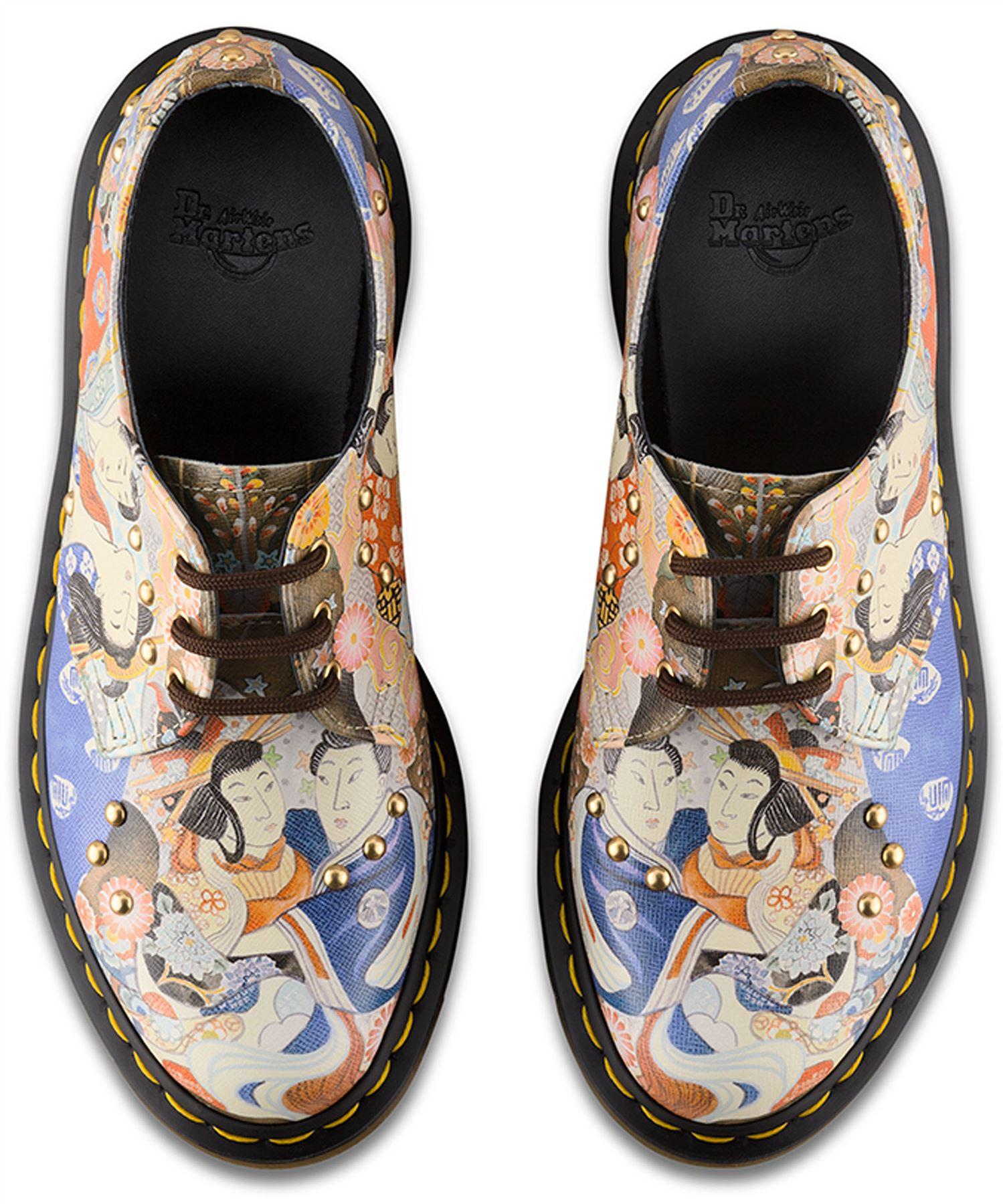 Dr Martens Ladies 1461 EA Oriental Eastern Art Multi Coloured Leather Shoes