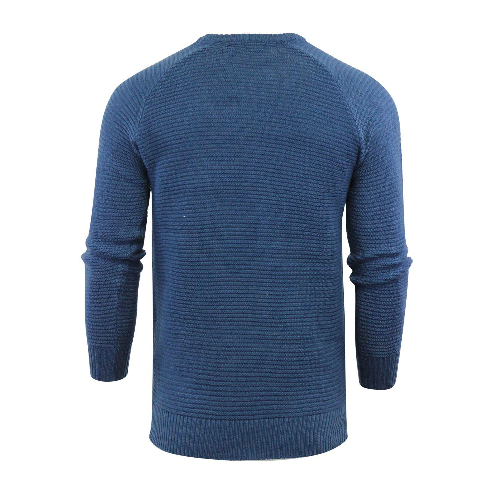 Brave Soul Pineco Mens Jumper Ribbed Crew Neck Sweater