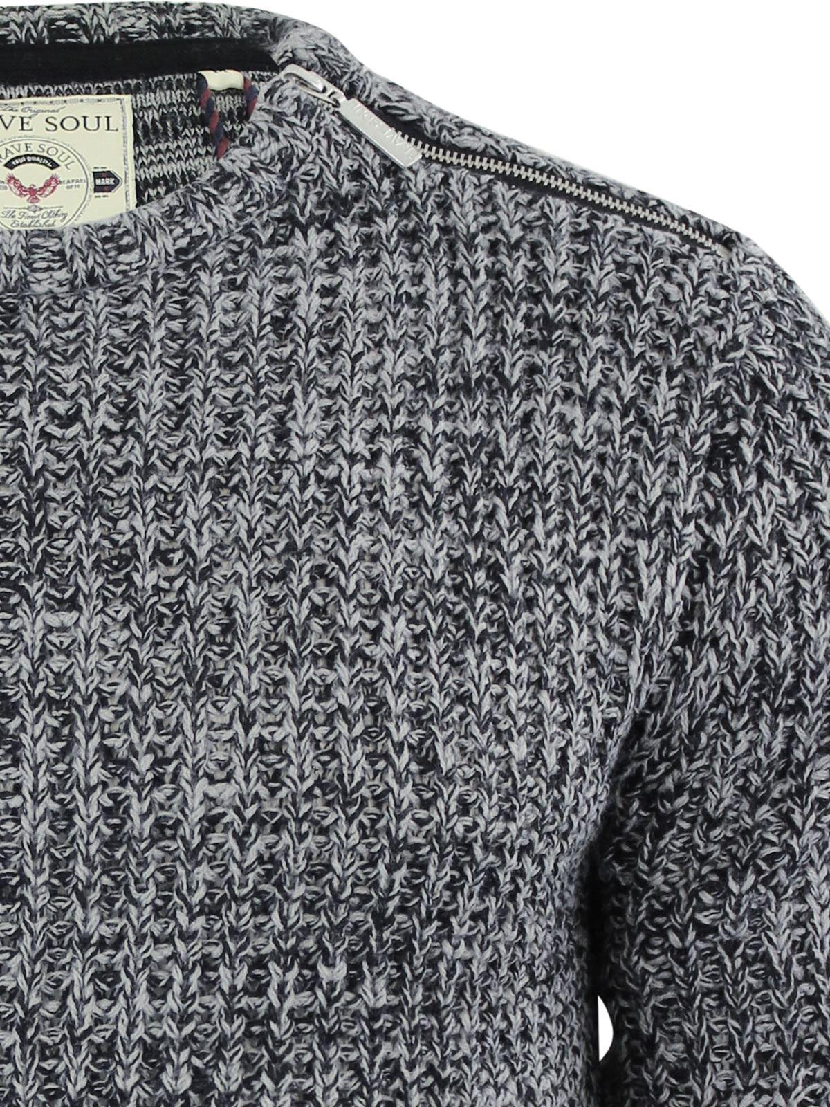 Brave Soul Meteor Mens Jumper Ribbed Knited Crew Neck Sweater With Shoulder Zip