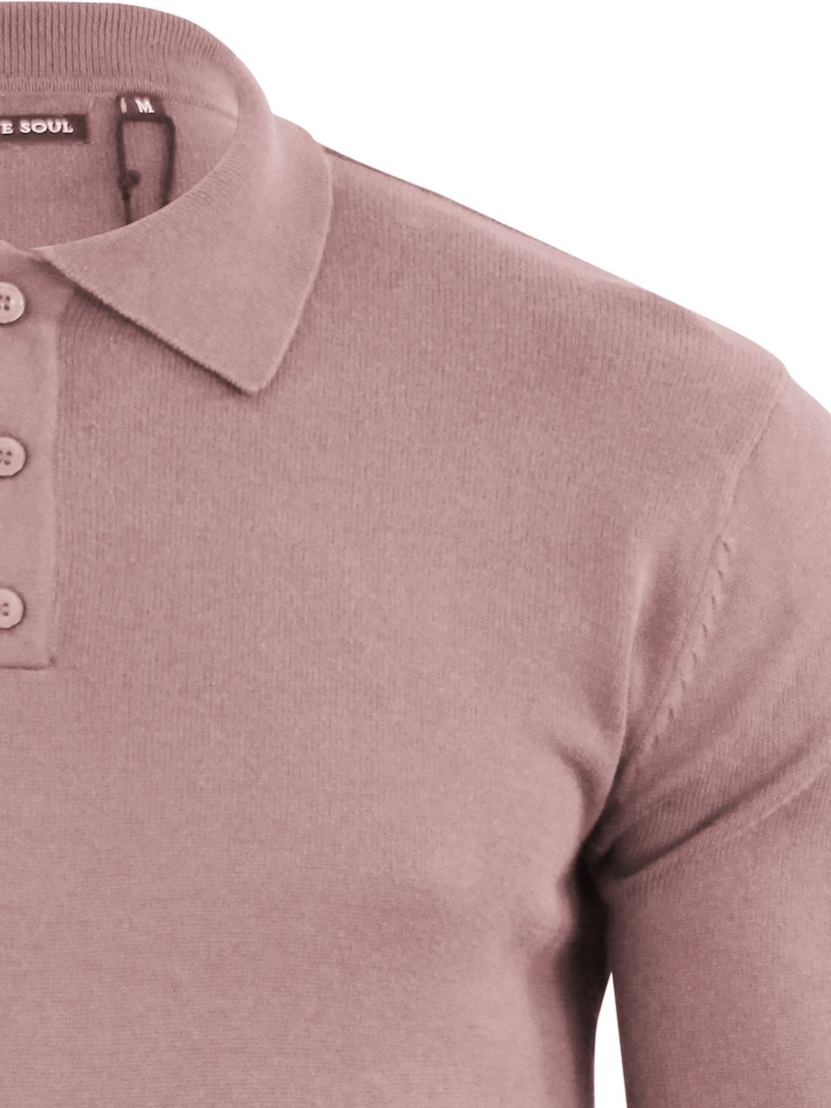 Mens Knitted Polo T Shirt Brave Soul Placket Collared Jumper
