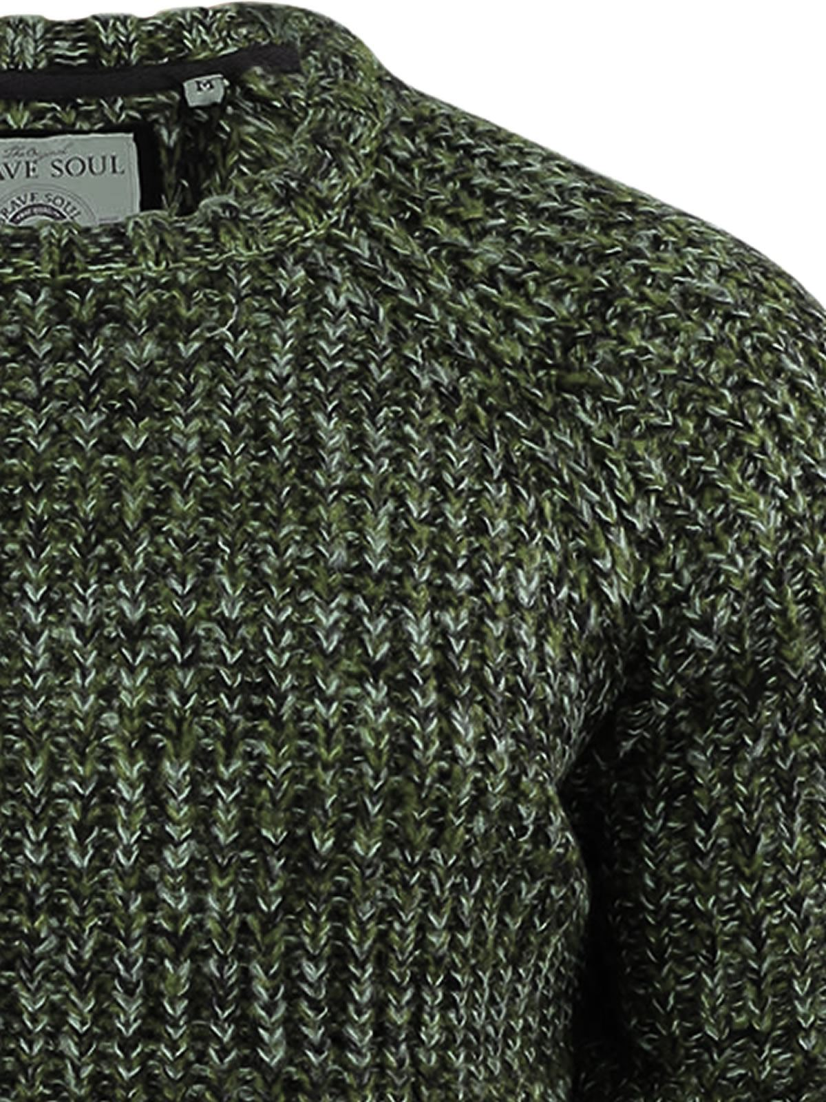 Brave Soul Dawks Mens Jumper Twisted Chunky Knitted Crew Neck Sweater