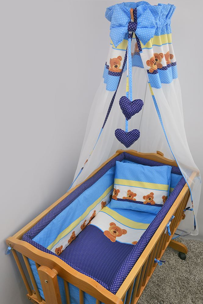 9 Piece Baby Crib Bedding Set with All Round Padded Bumper Fits 90x40 cm Cradle