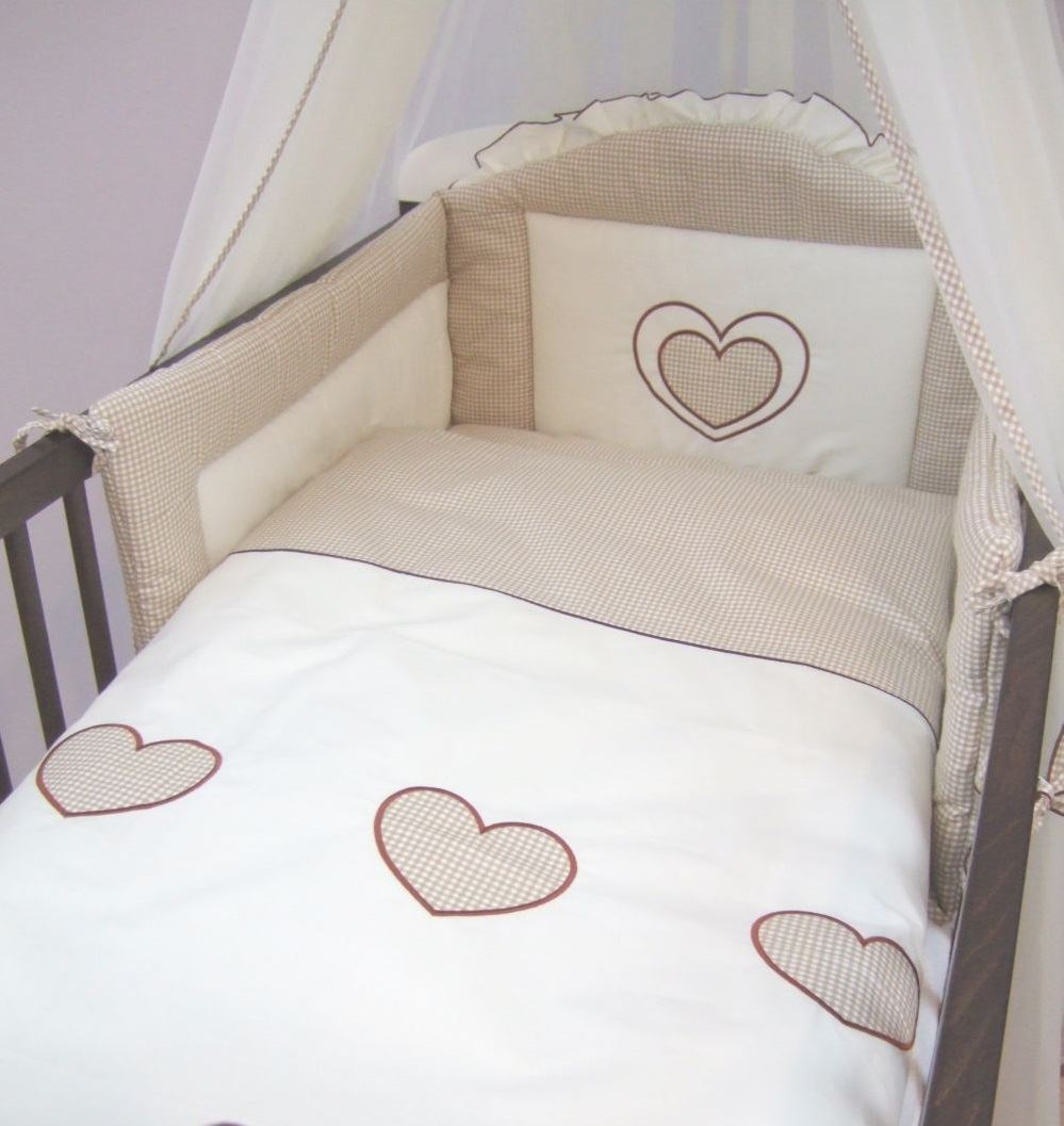 Hearts Cot Bed Luxury 7 Piece Embroidered Baby Canopy Bedding Set For Cot