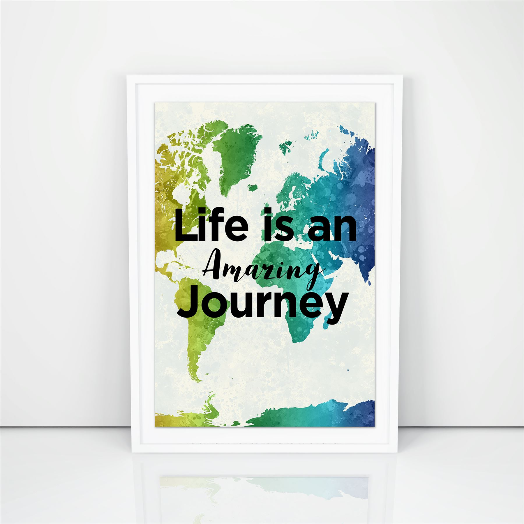Life Is An Amazing Journey Motivation Print Travellers Quotes Water Colour Art