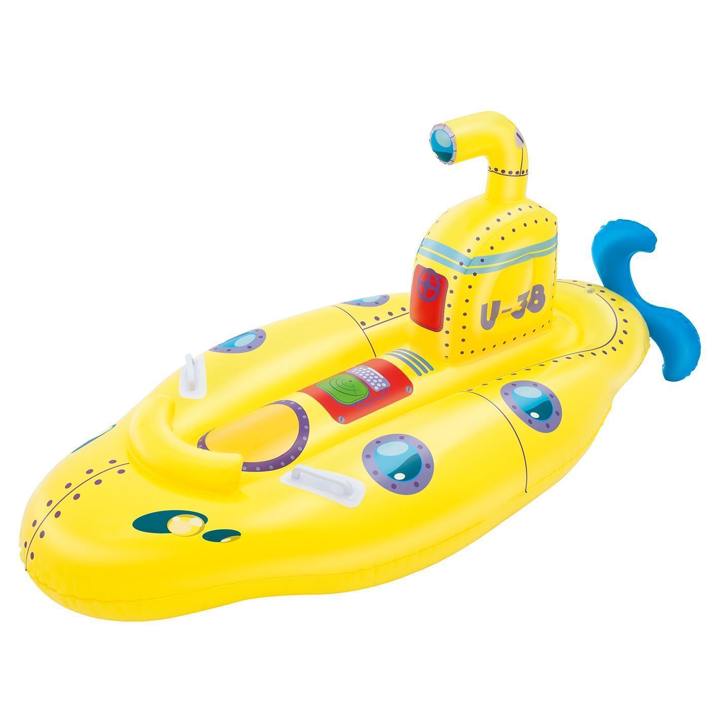 Yellow PACK OF 2 Inflatable Boat Float Ride-On Submarine Rider with Periscope
