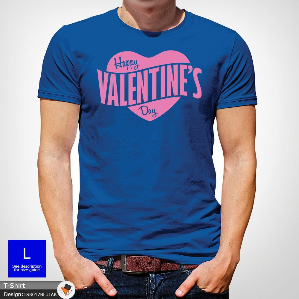 Mens Boys Happy Valentines Day Heart Logo Party Designer T Shirt Top Blue
