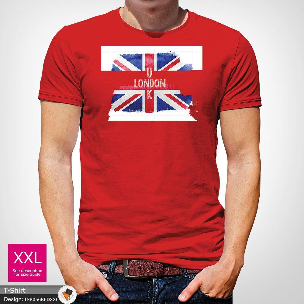 LONDON ENGLAND MENS TSHIRT TEE GREAT BRITAIN GIFT UNION JACK T SHIRT Red !